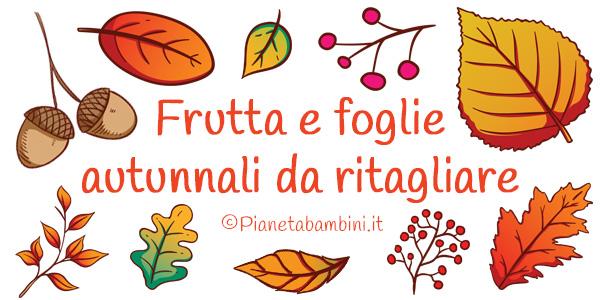Frutta e foglie autunnali già colorate da ritagliare