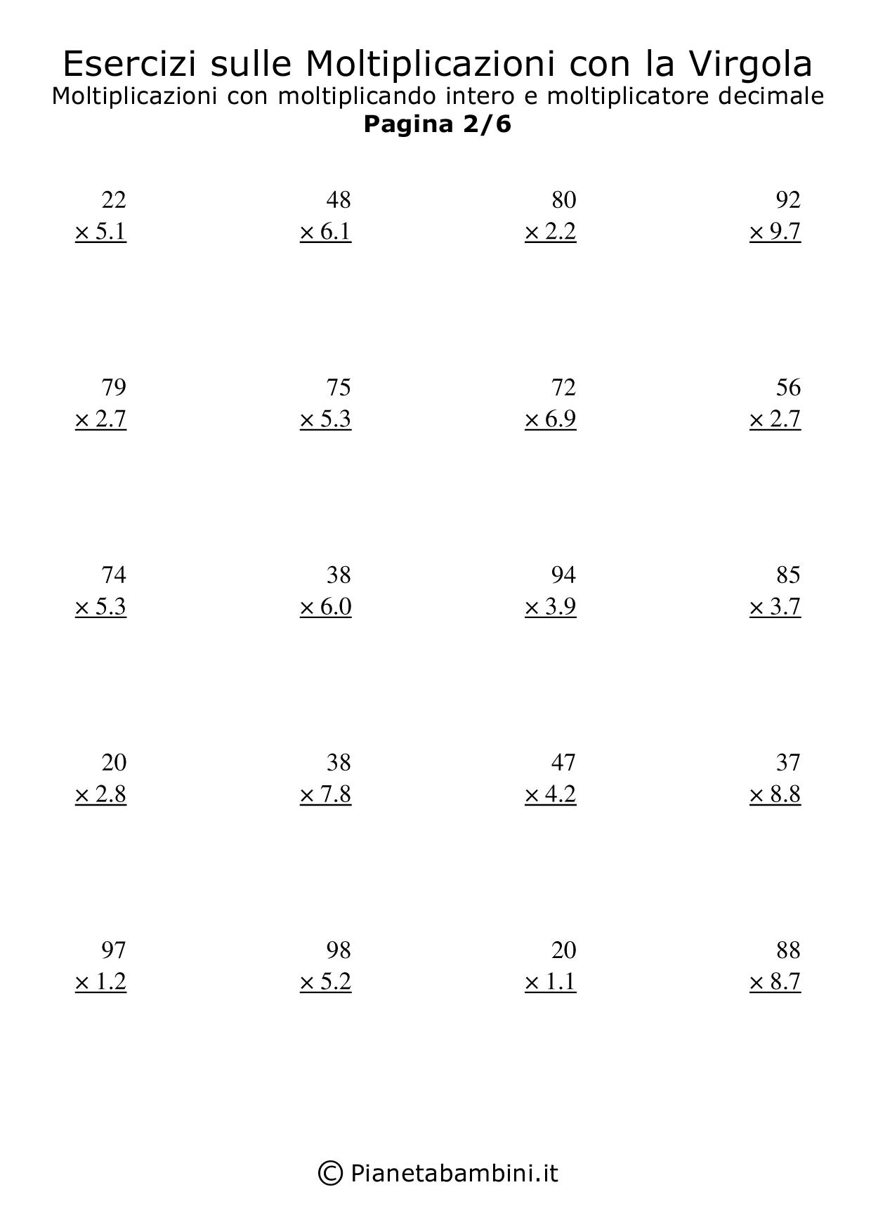 Esercizi Sulle Moltiplicazioni Con La Virgola In Colonna