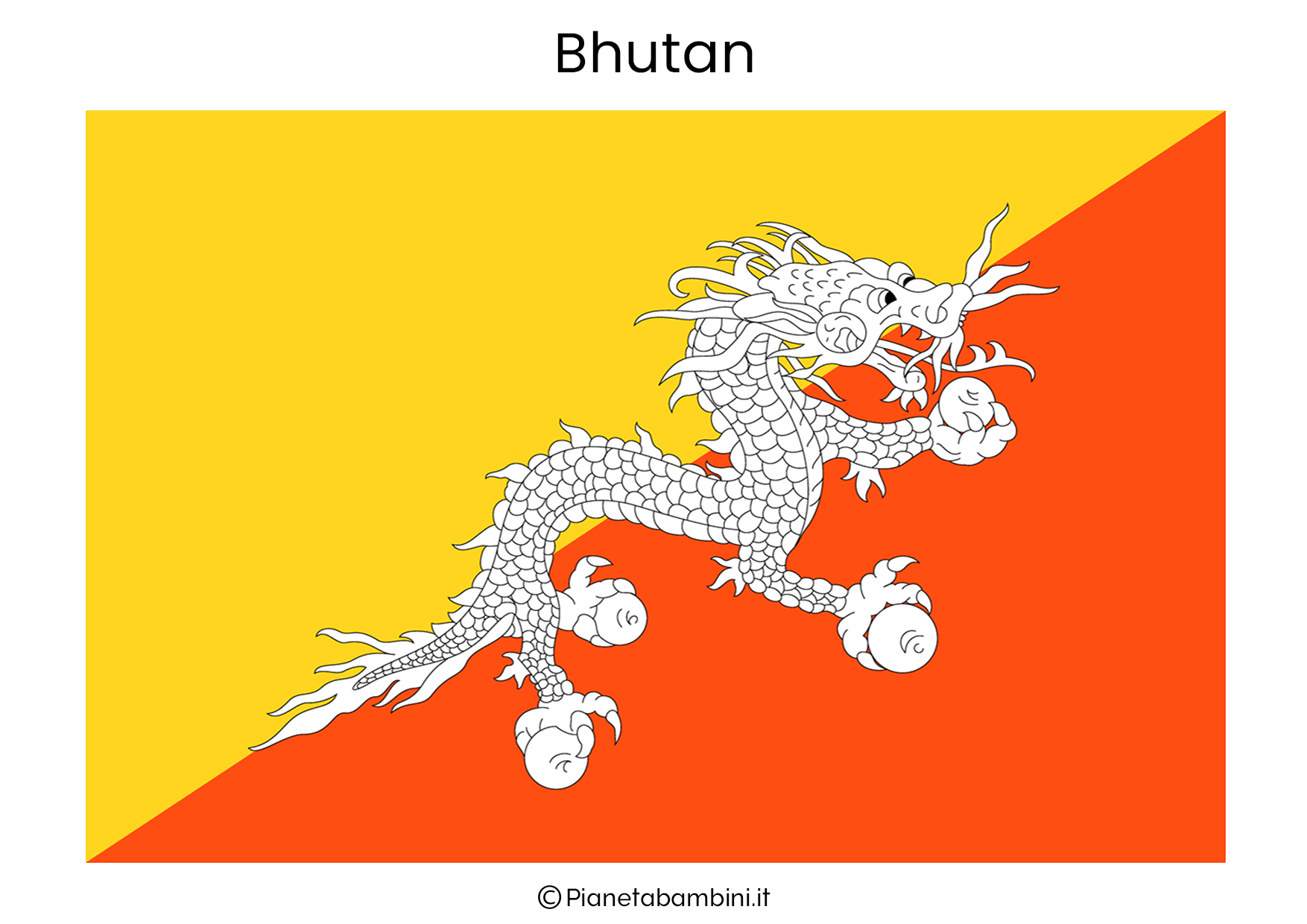 Bandiera del Bhutan da stampare