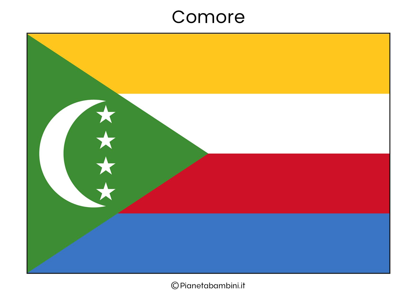 Bandiera del Comore da stampare
