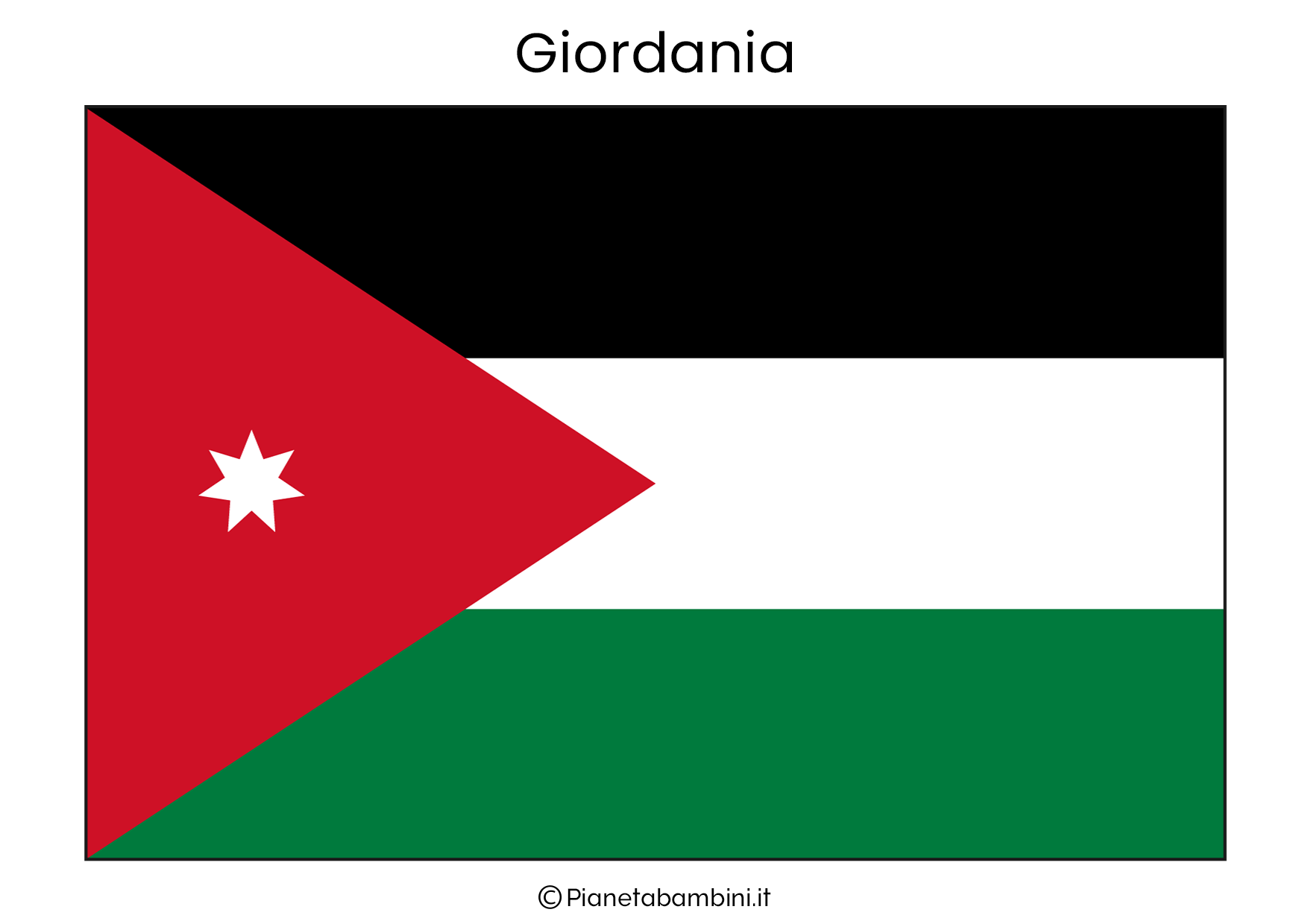 Bandiera della Giordania da stampare