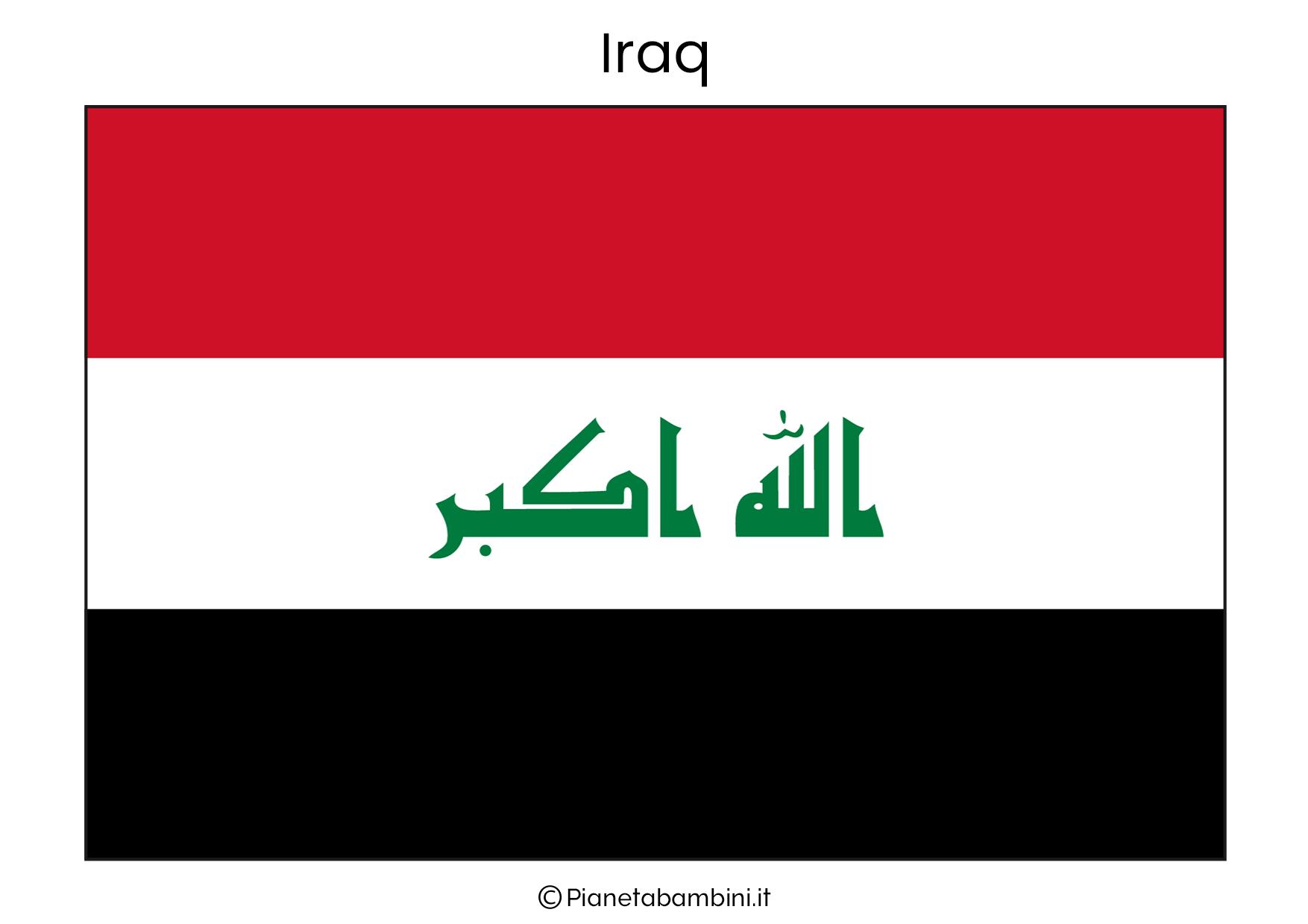 Bandiera dell'Iraq da stampare