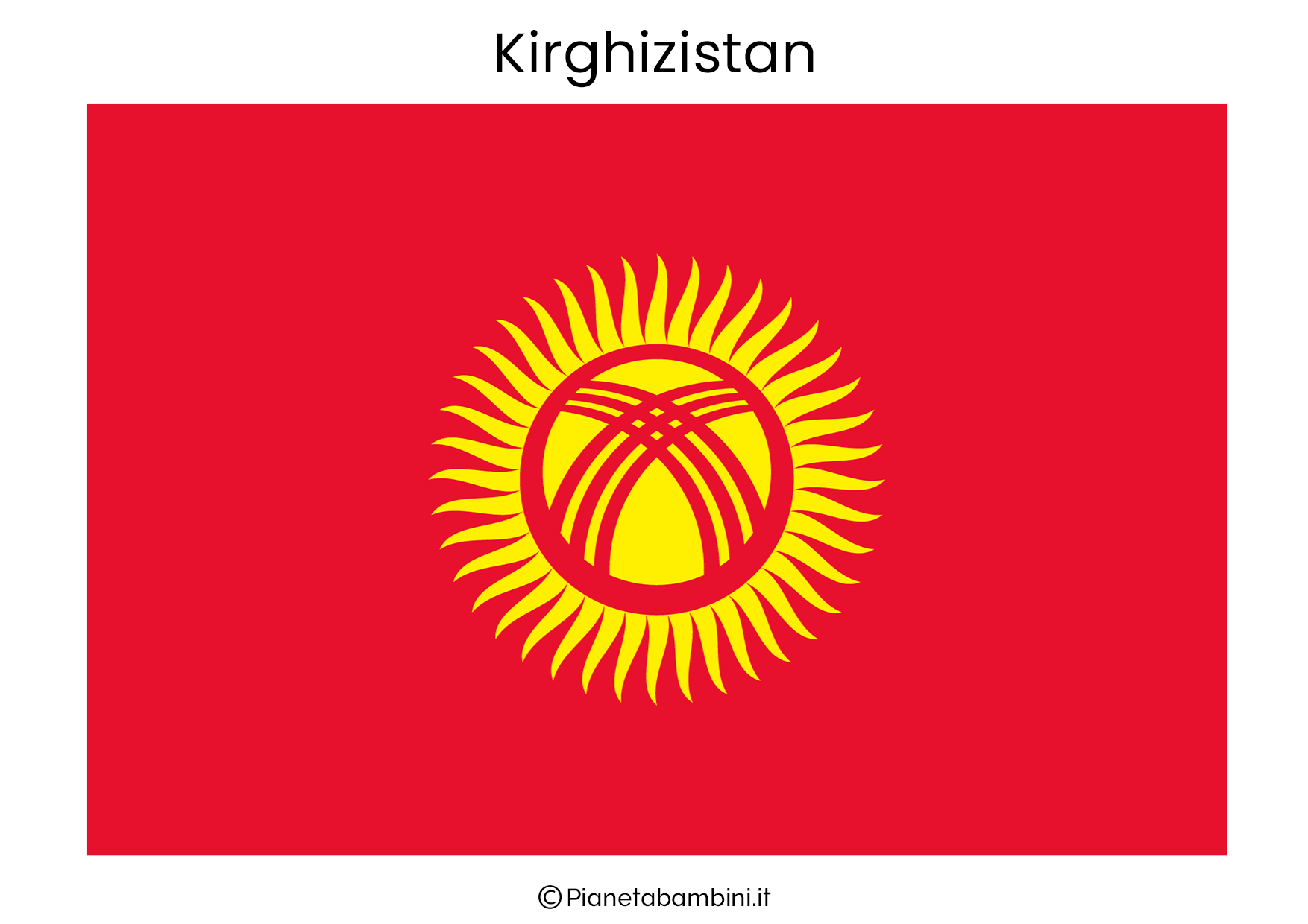 Bandiera del Kirghizistan da stampare