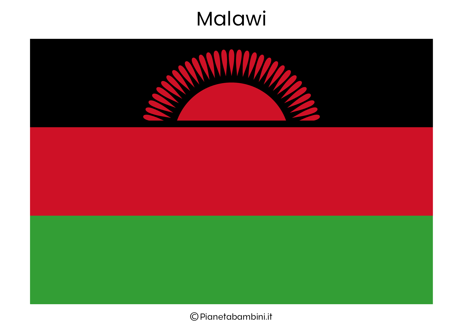 Bandiera del Malawi da stampare