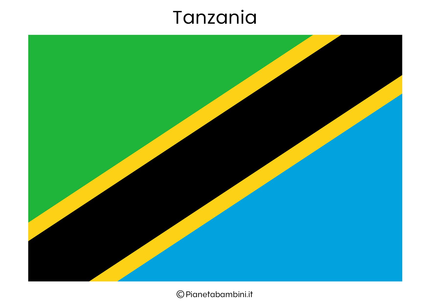 Bandiera della Tanzania da stampare