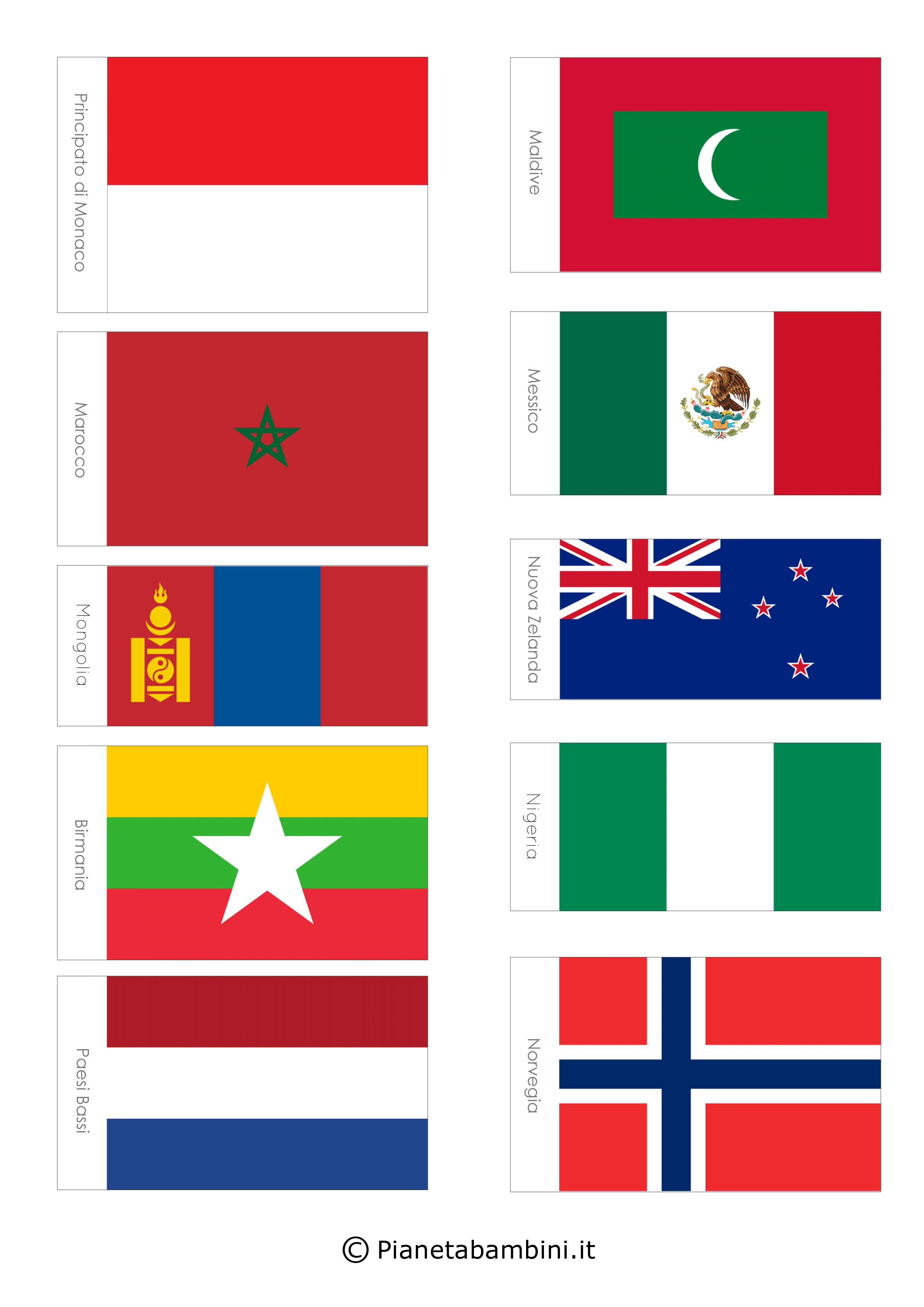 100 Bandiere Del Mondo Da Stampare E Ritagliare Pianetabambini It