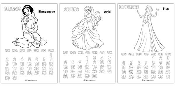 Calendario delle principesse Disney da colorare