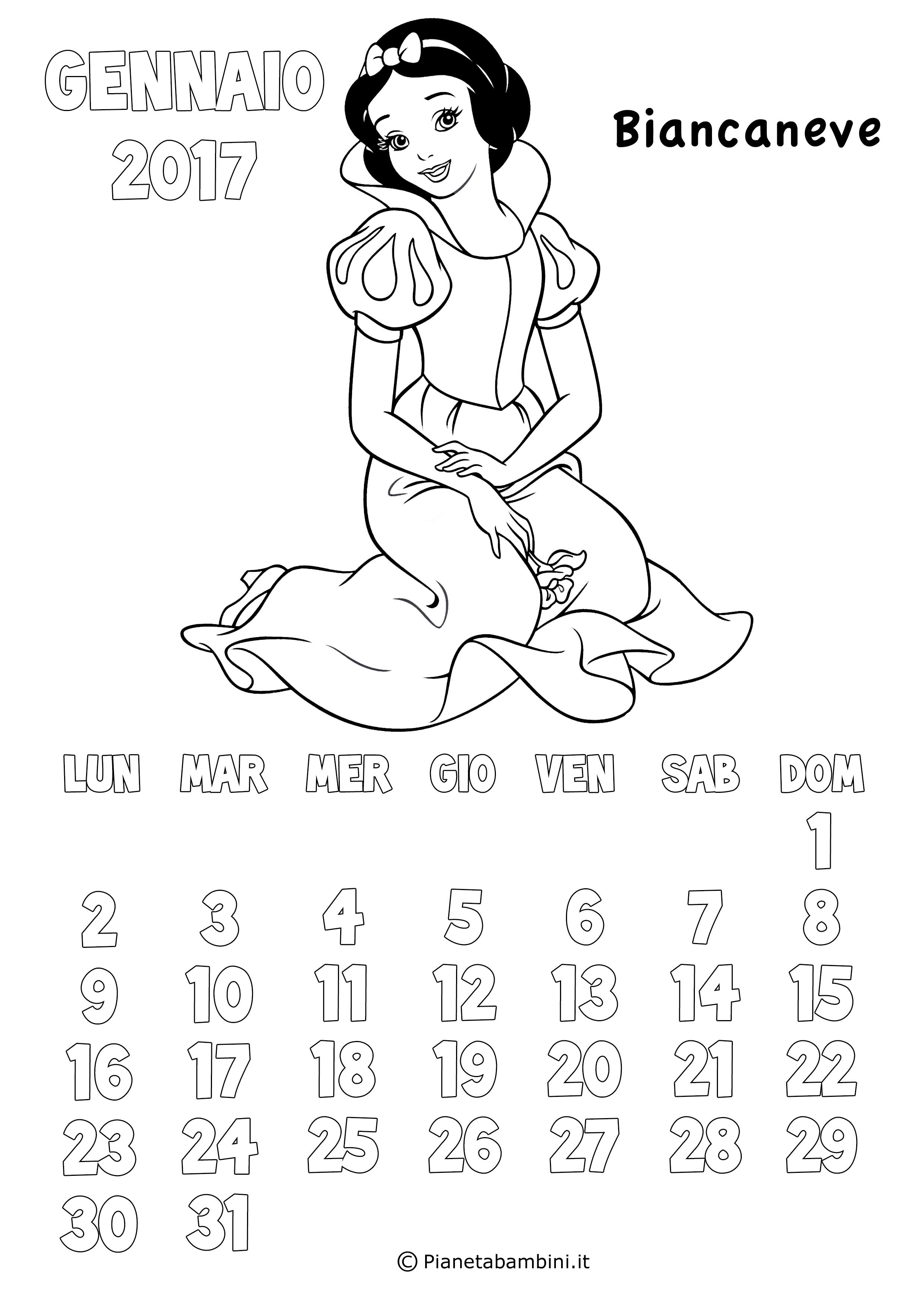 Calendario 2017 delle principesse da colorare per bambine for Immagini squali da stampare