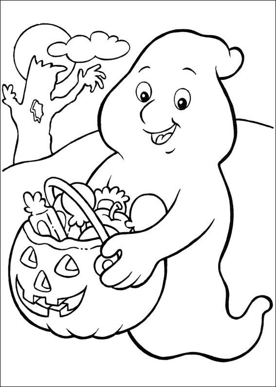 Fantasma con la zucca di Halloween