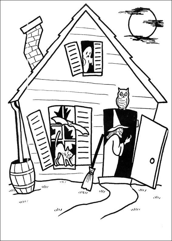 Casa con strega, gatto, gufo e fantasma