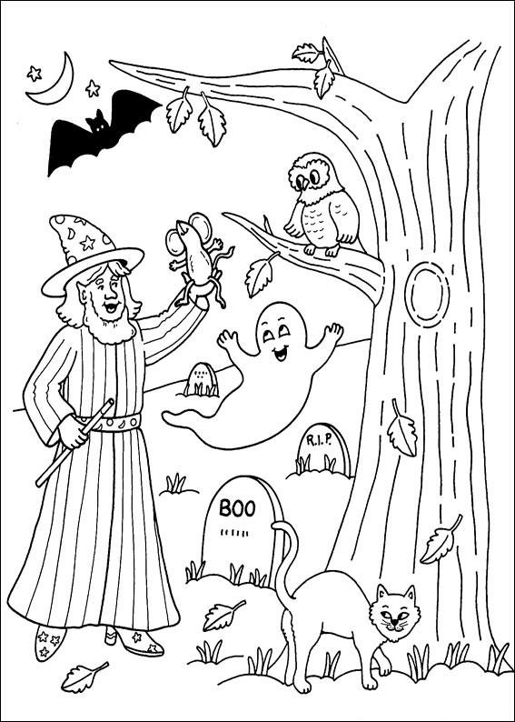Cimitero con personaggi di Halloween