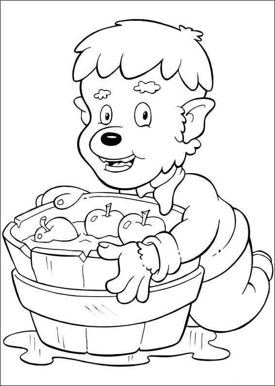 Mostro e vasca con le mele
