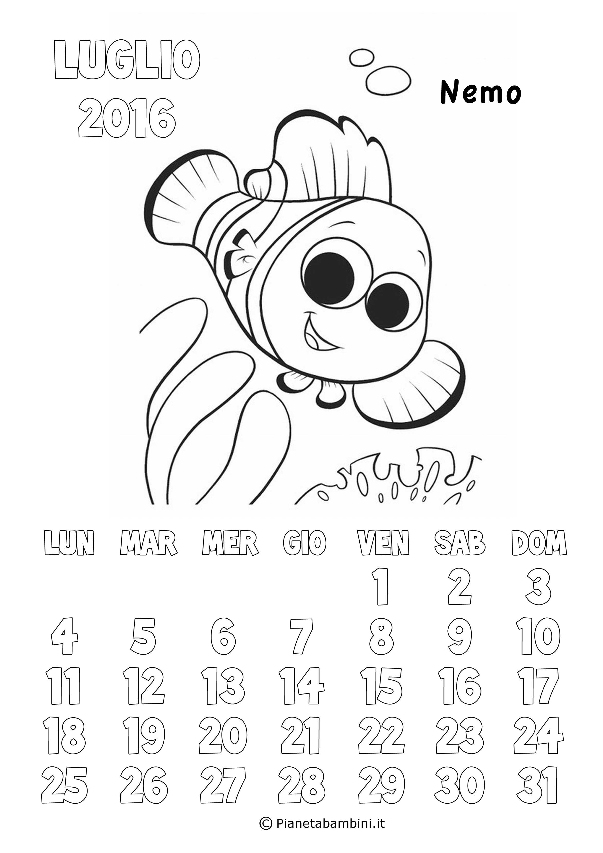 Calendario 2017 degli animali disney da colorare per for Nemo da colorare e stampare