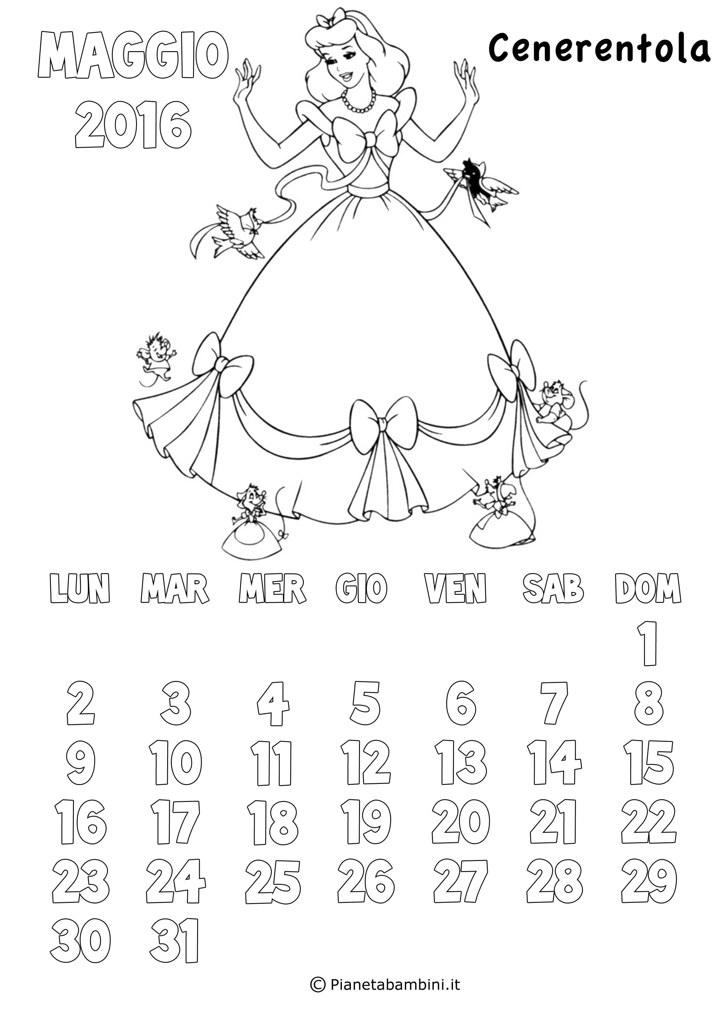 Calendario Da Colorare.Calendario 2017 Delle Principesse Disney Da Colorare Pianetabambini It