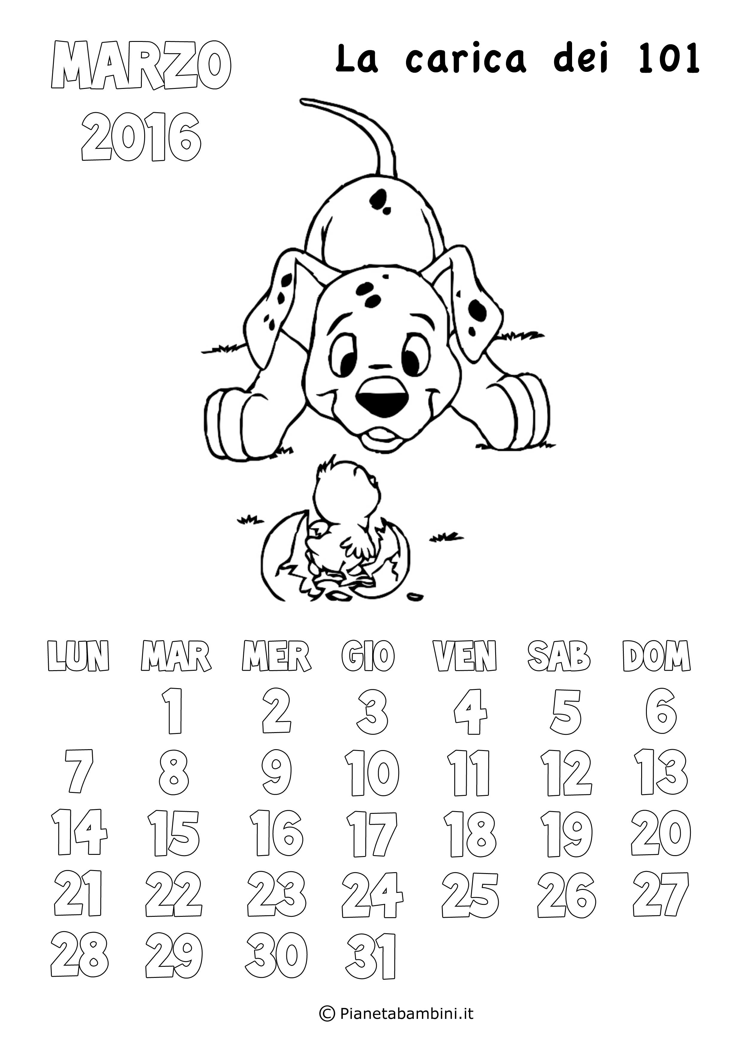 Calendario 2017 degli animali disney da colorare per for Neonati da colorare e stampare