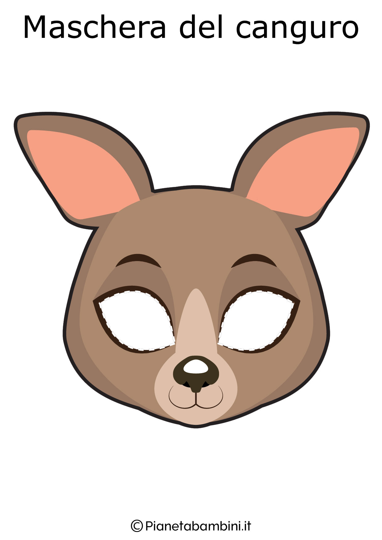 Maschera del canguro da ritagliare