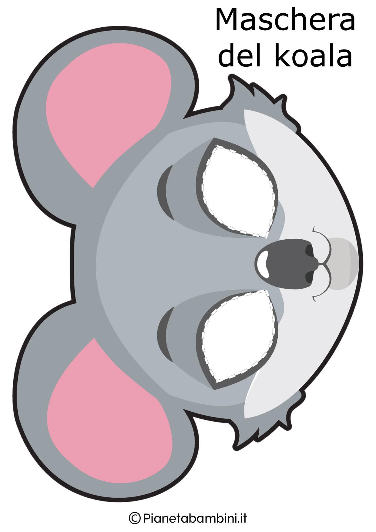 Maschera da koala da ritagliare