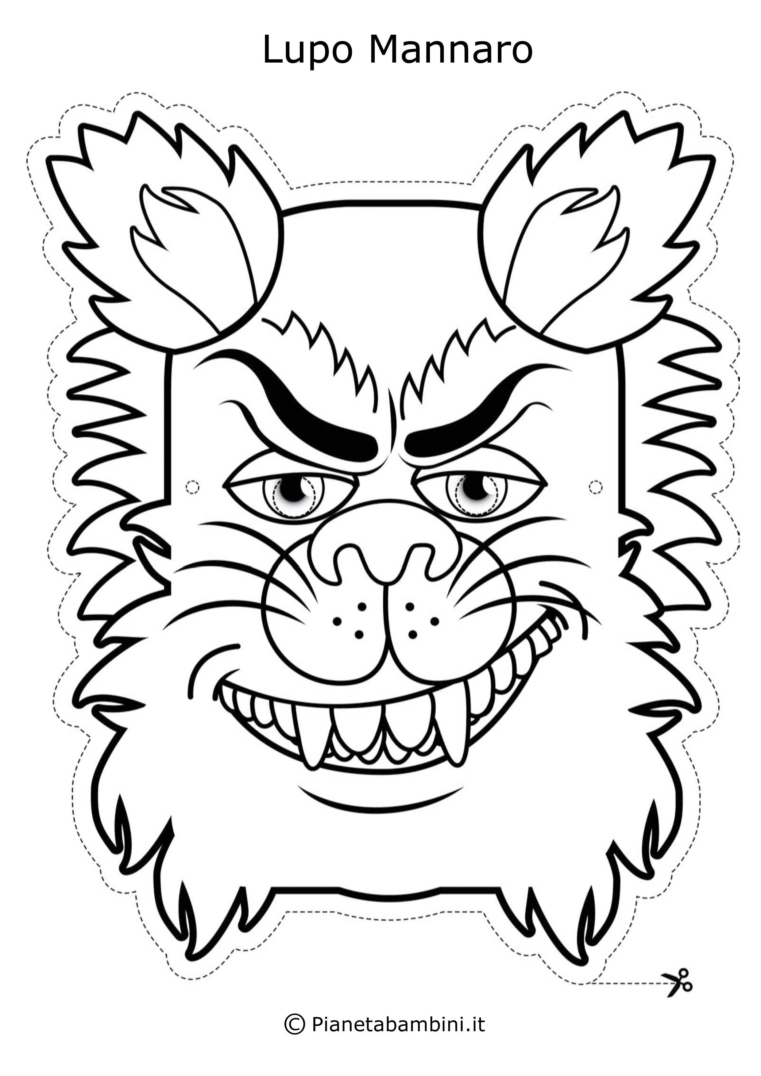 62 maschere di carnevale da colorare e ritagliare for Disegni di lupi da colorare