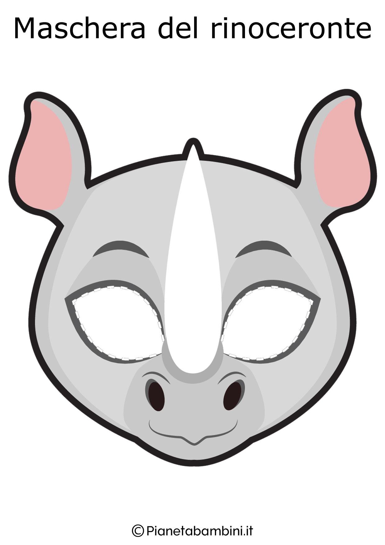 Maschera del rinoceronte da ritagliare