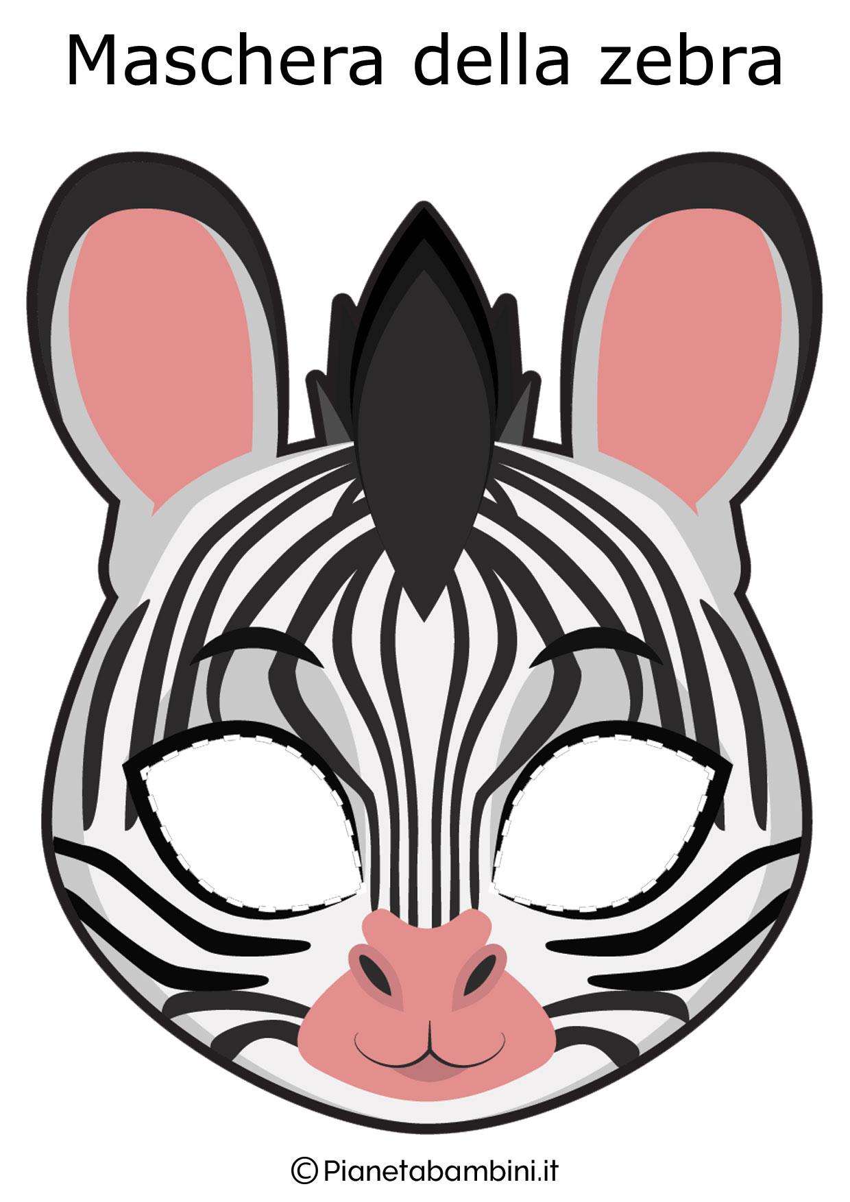Maschera da zebra da ritagliare