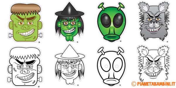Maschere classiche di Halloween da stampare e ritagliare