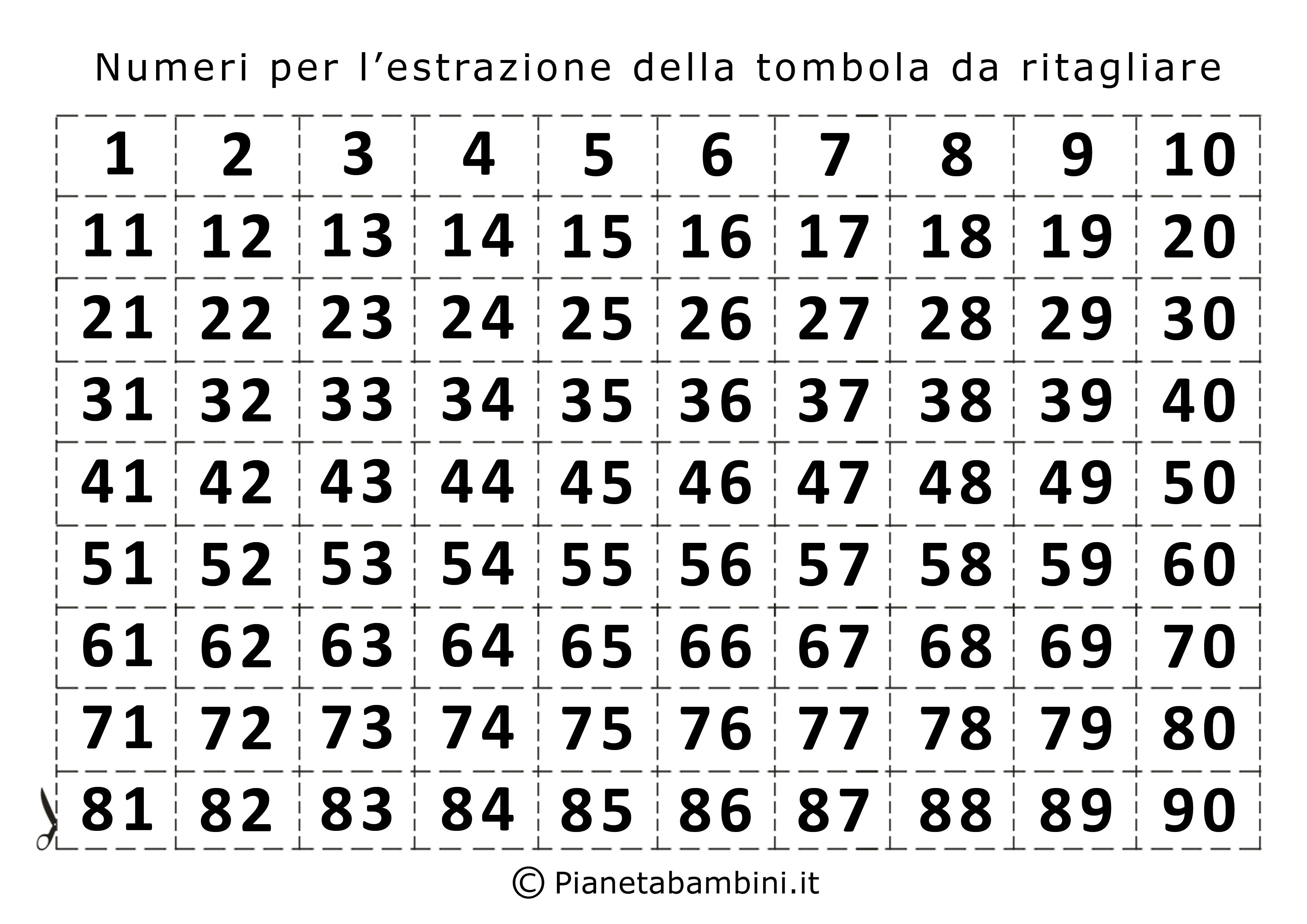 Numeri per l'estrazione della tombola da stampare