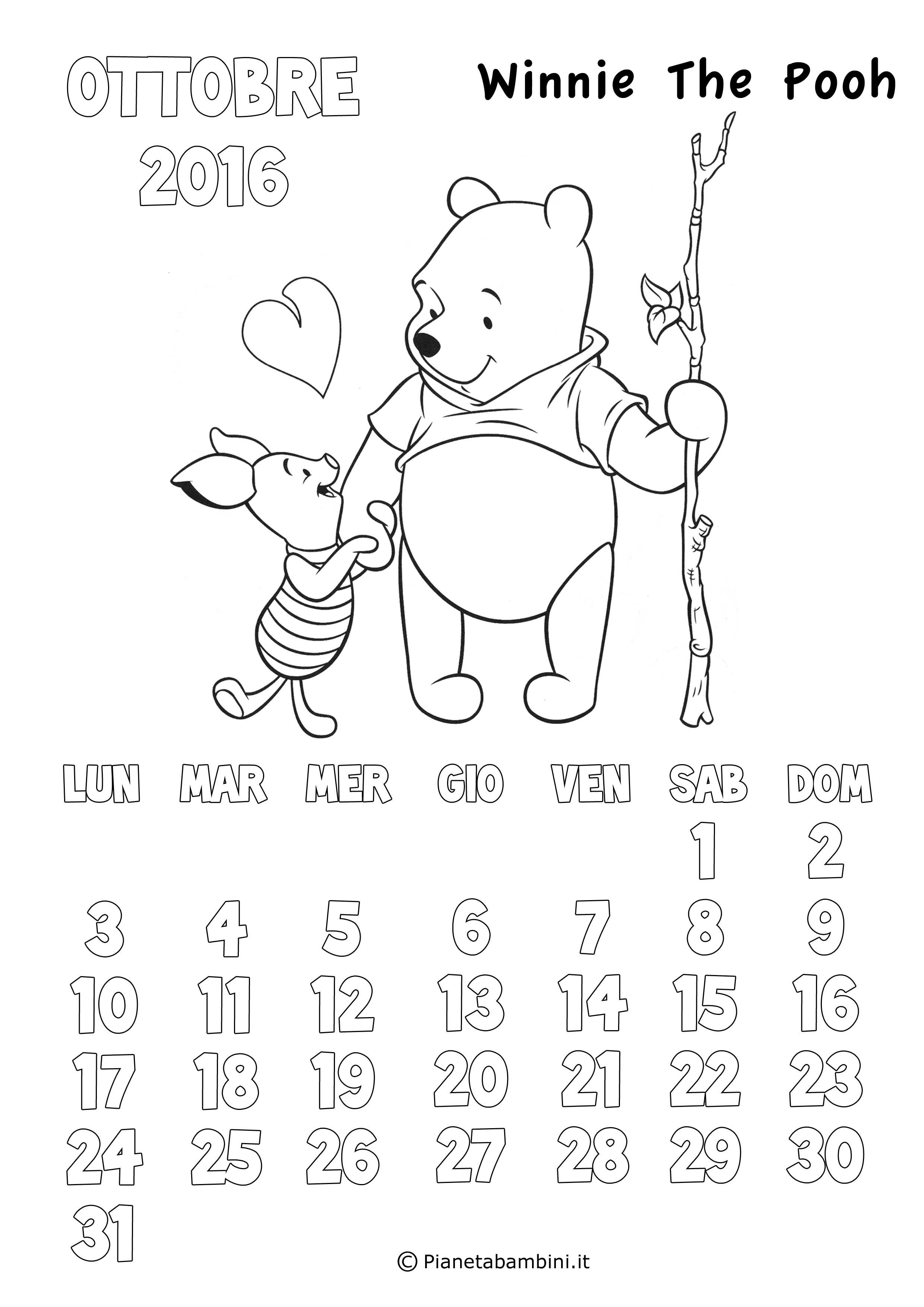 Calendario 2020 Da Colorare Per Bambini.Calendario Da Stampare Ottobre 2017