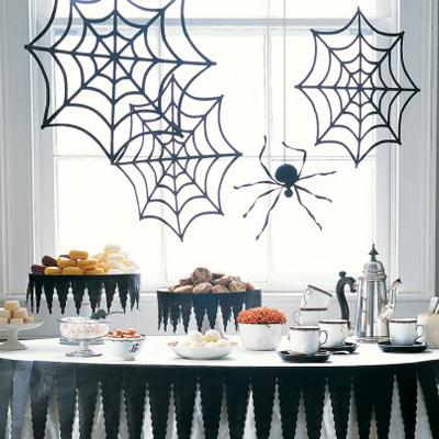 Foto delle decorazioni di Halloween con la ragnatela