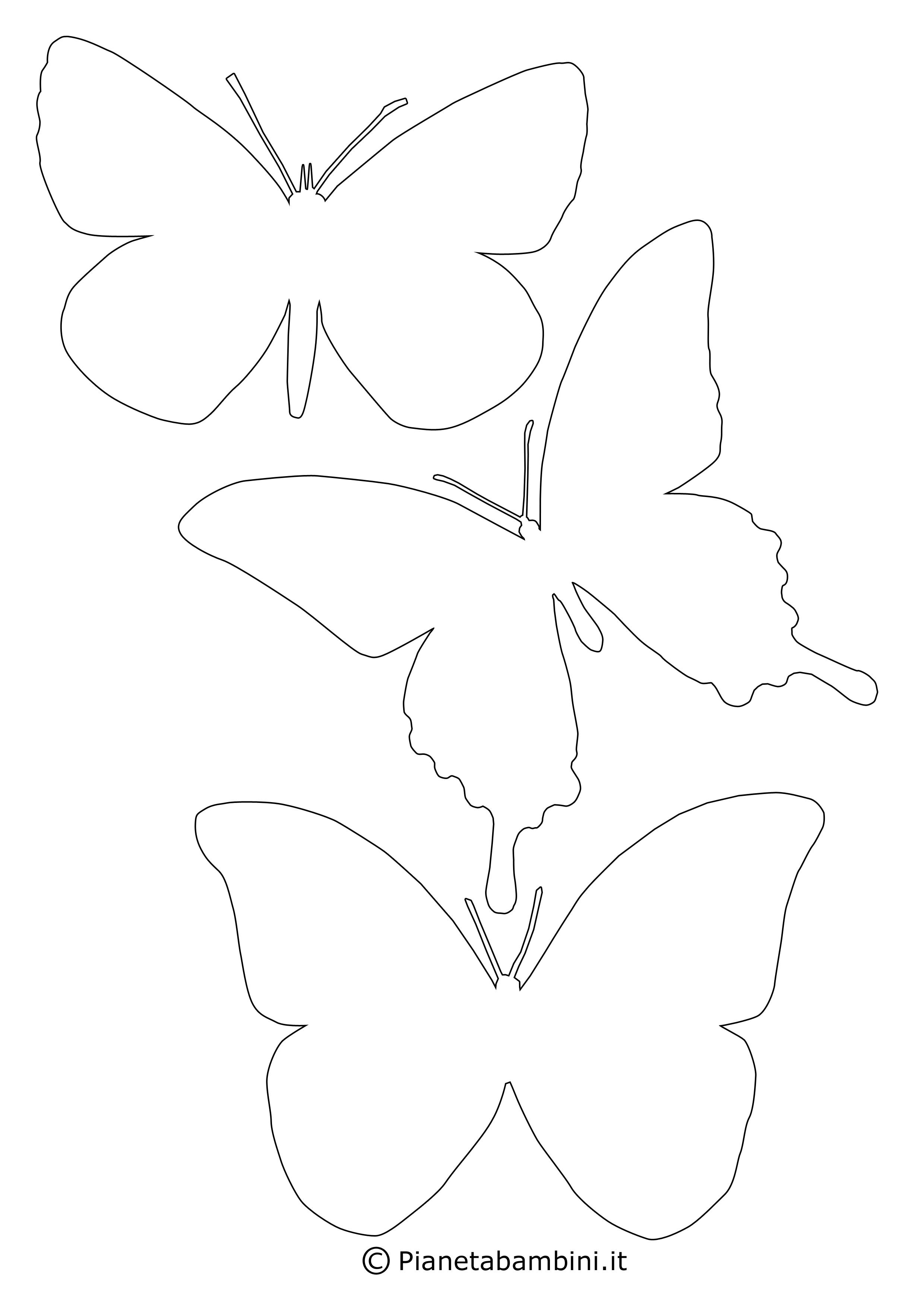 Sagome di farfalle da colorare e ritagliare per bambini for Immagini farfalle da ritagliare
