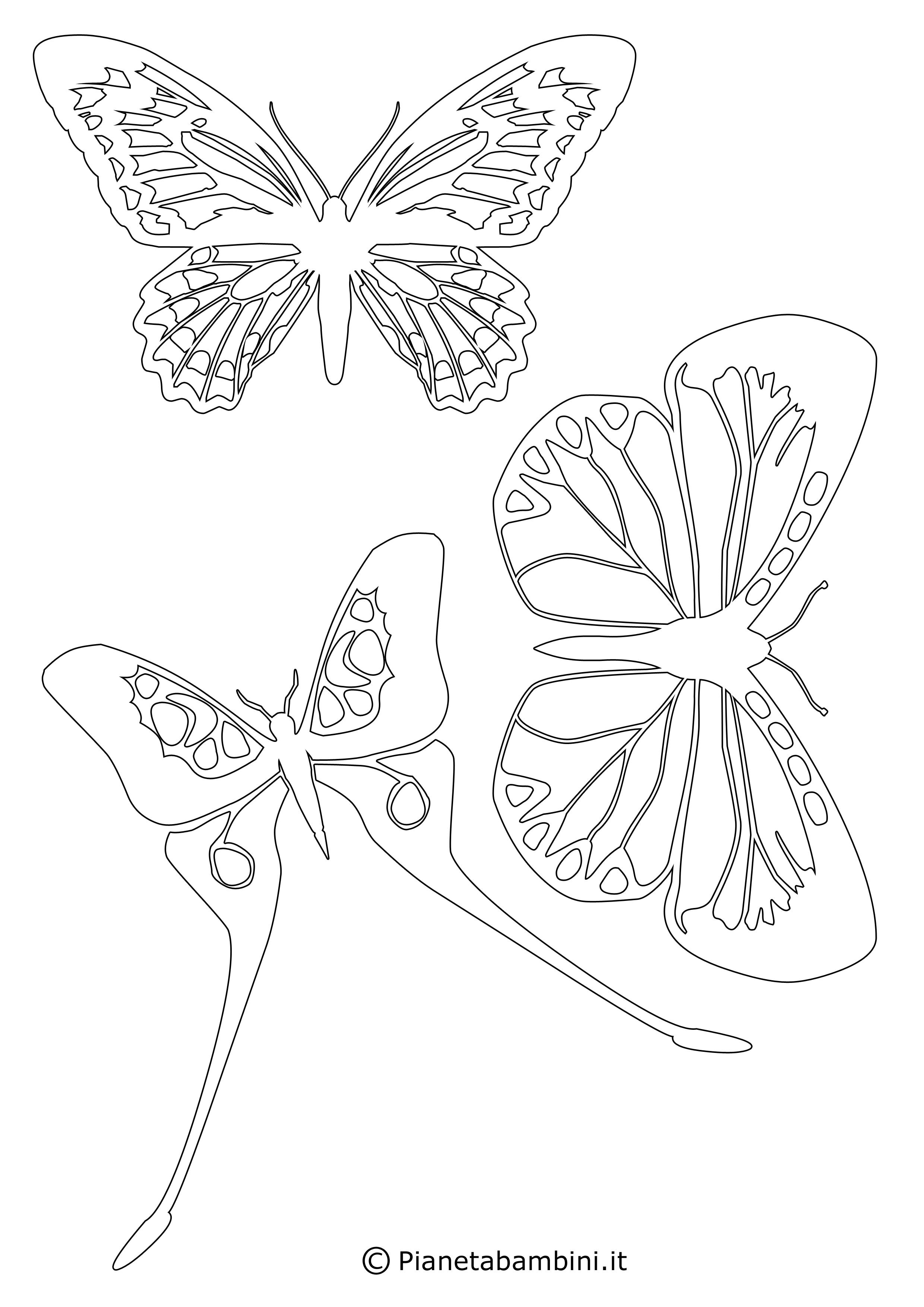 Sagome di farfalle da colorare e ritagliare per bambini for Disegni da stampare colorare e ritagliare