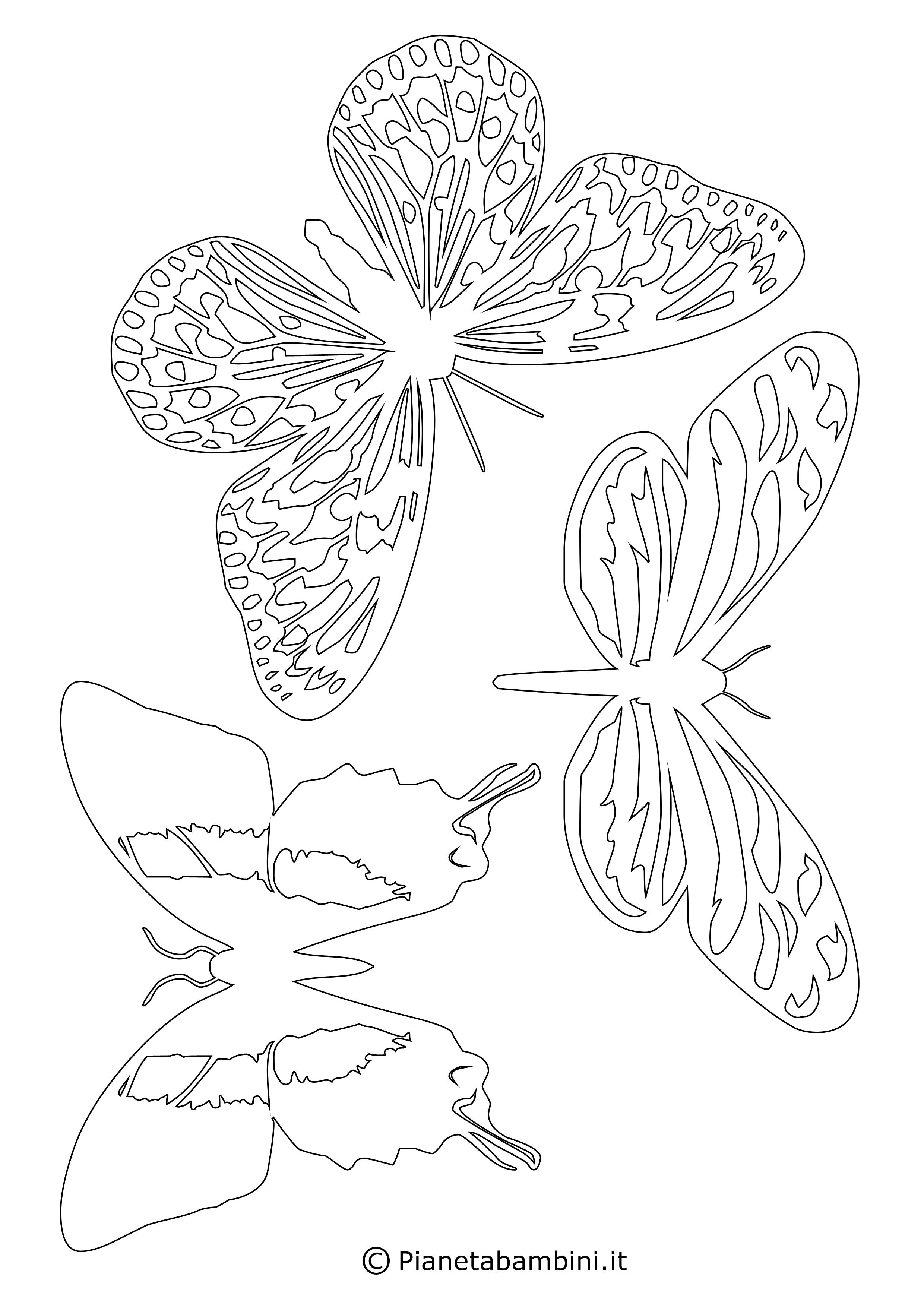 Sagome di farfalle da colorare e ritagliare per bambini - Pagine da colorare per le farfalle ...