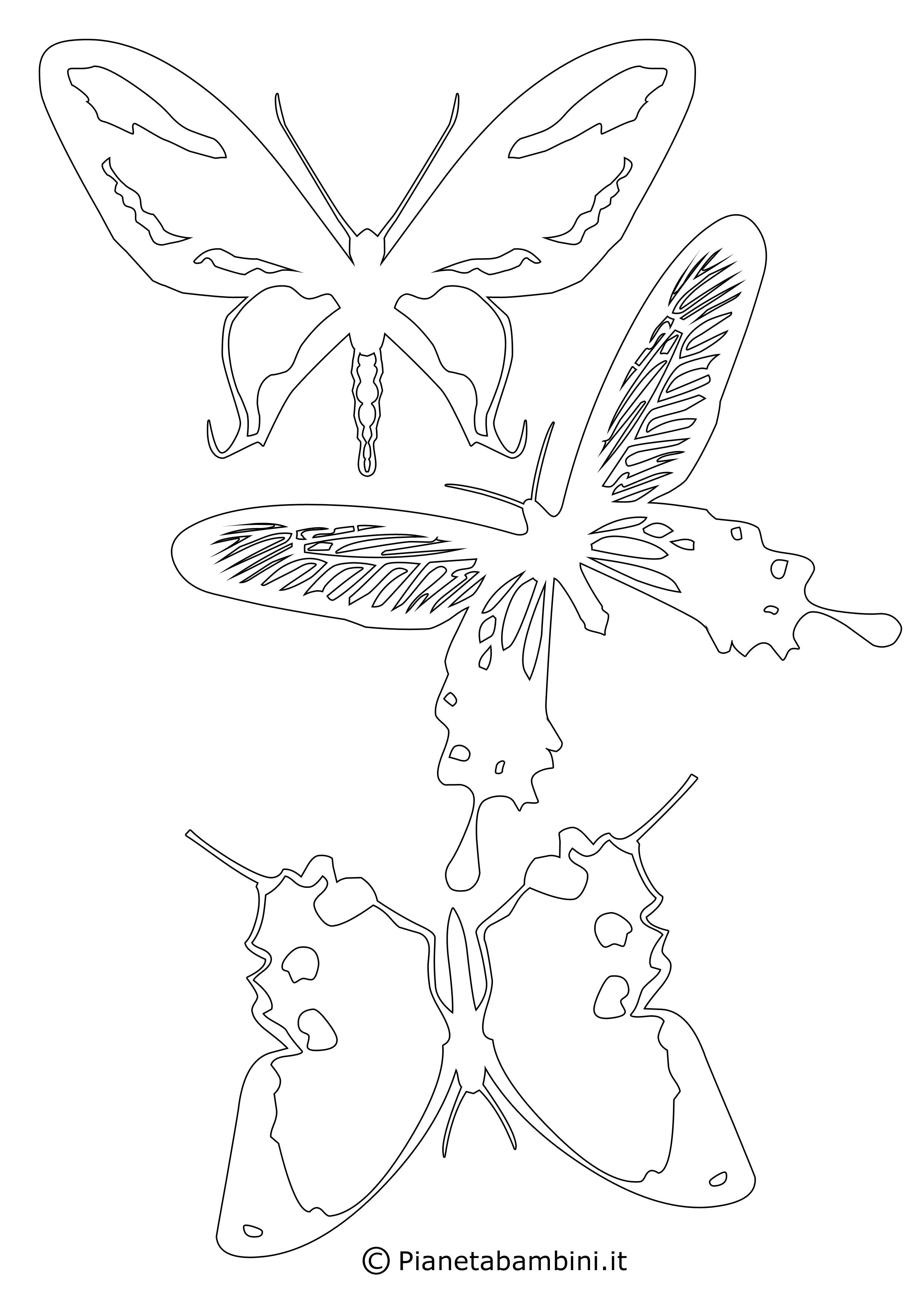 Sagome di farfalle da colorare e ritagliare per bambini for Farfalle da ricamare