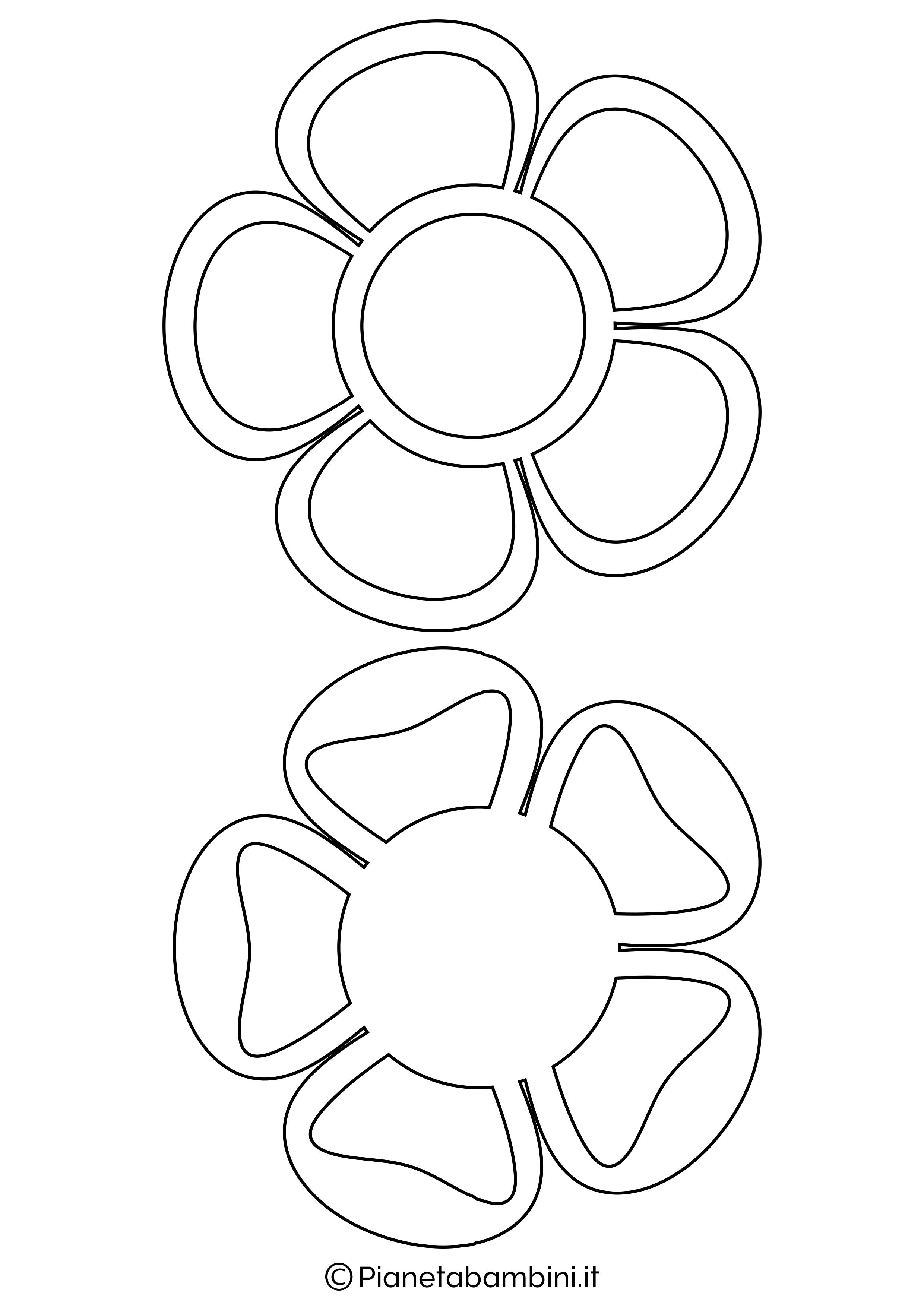 81 sagome di fiori da colorare e ritagliare per bambini for Fiori stilizzati colorati
