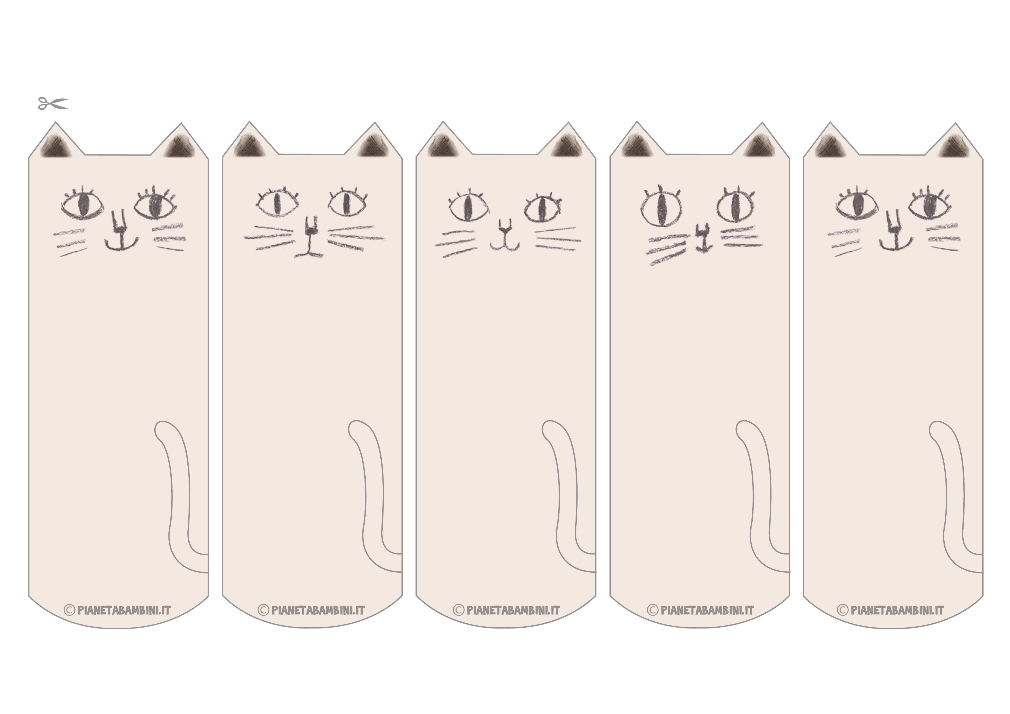 Segnalibri a forma di gatti già colorati