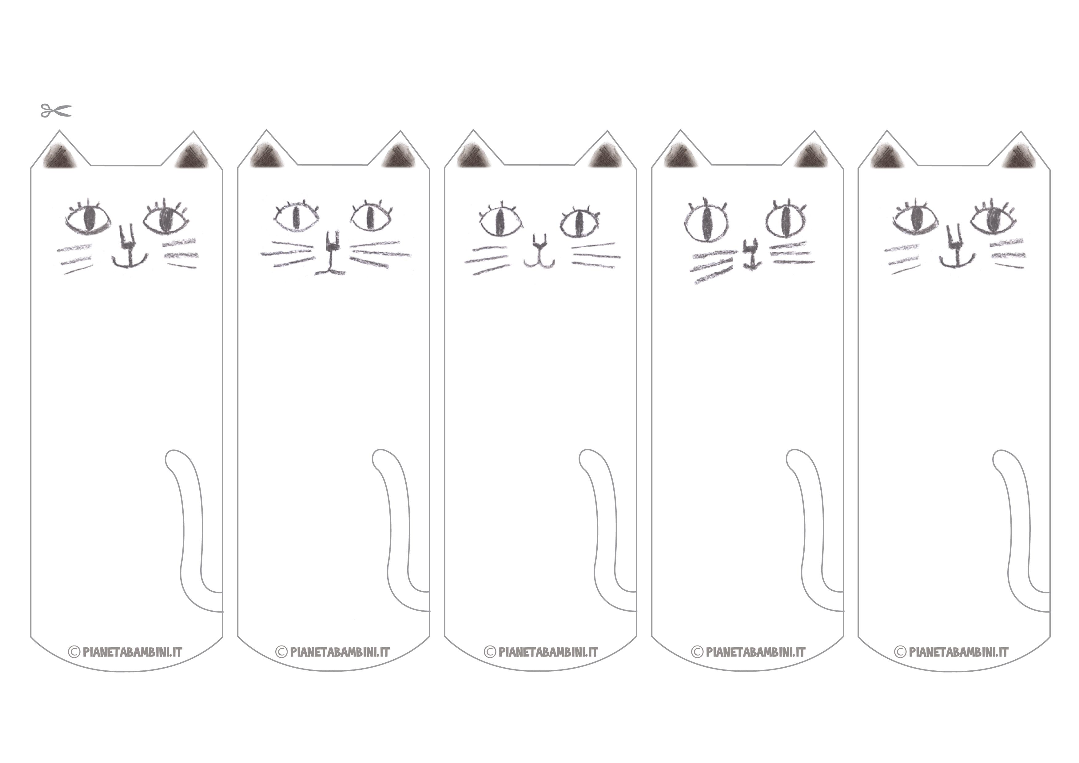 Segnalibri dei gatti da colorare