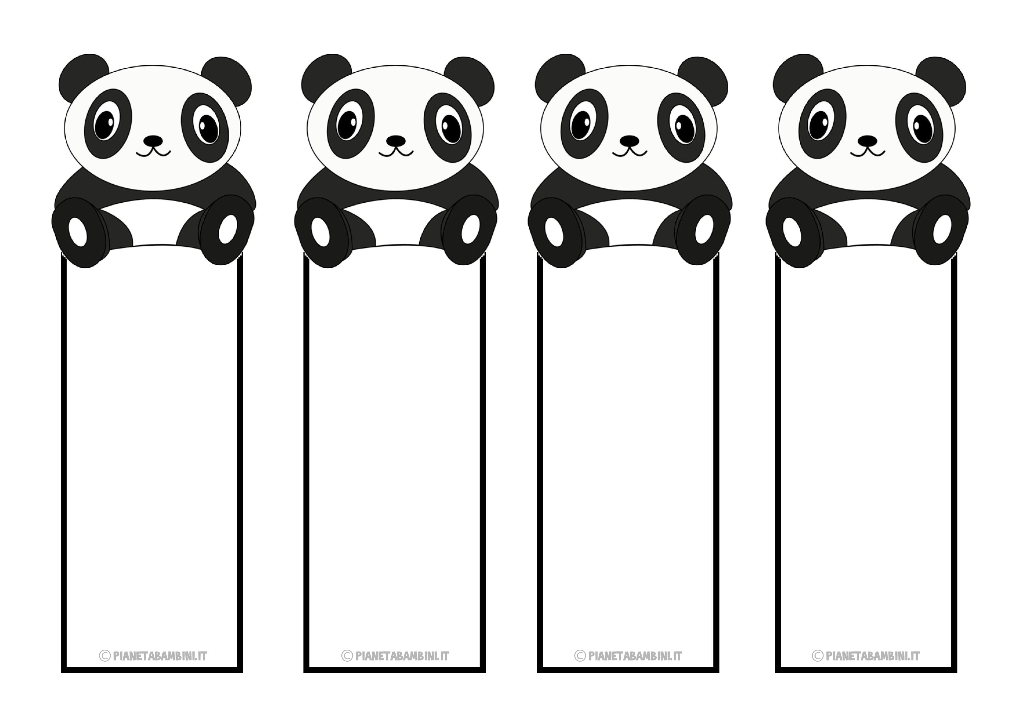 Segnalibri del panda da ritagliare