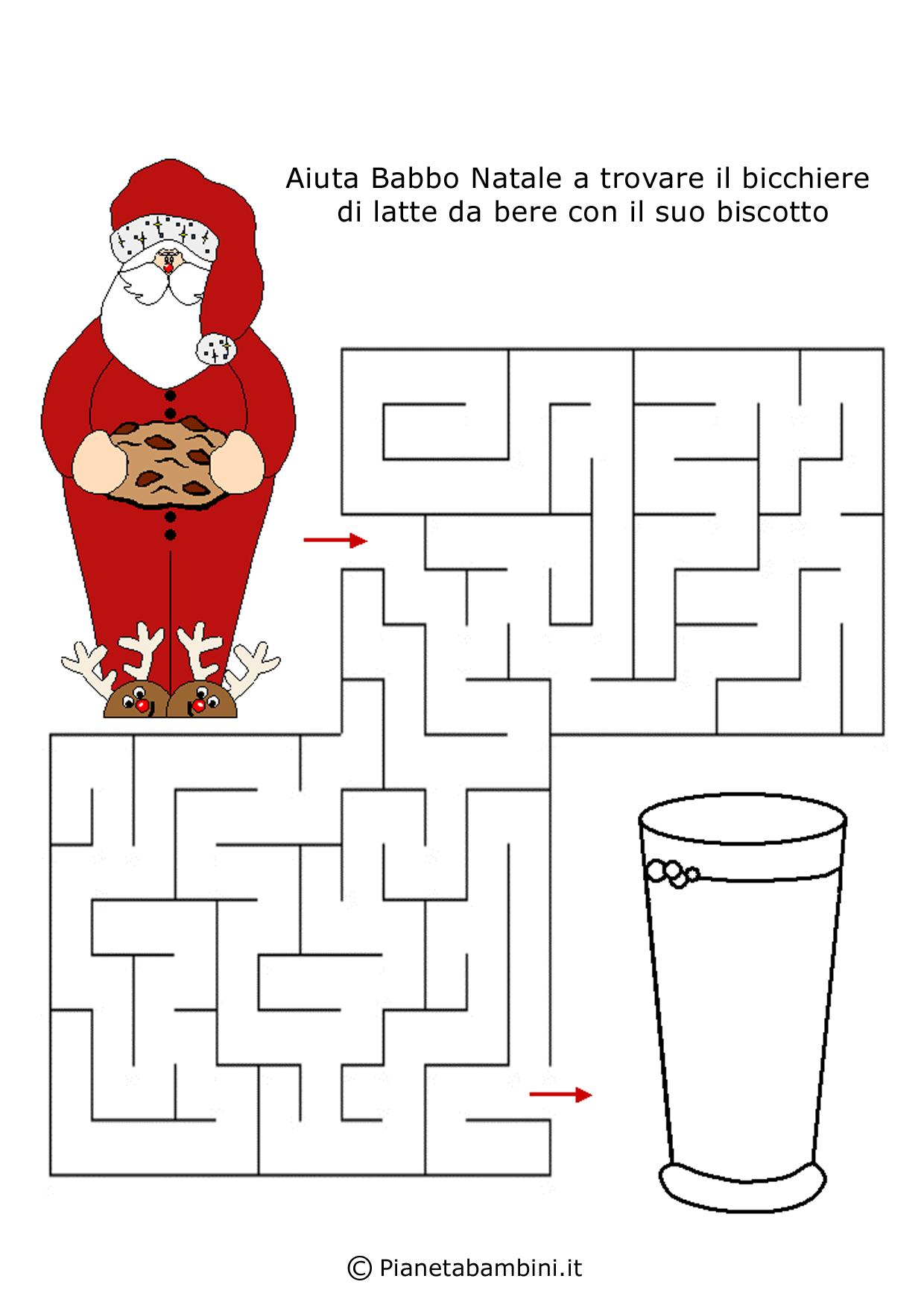 labirinti per bambini dedicati al natale da stampare