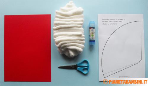 Immagine del materiale per la creazione del cappello di Babbo Natale