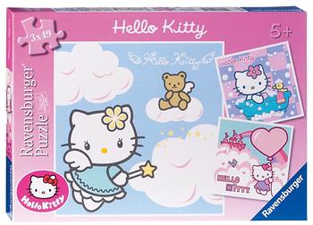 Immagine dei tre puzzle di Hello Kitty da 49 pezzi