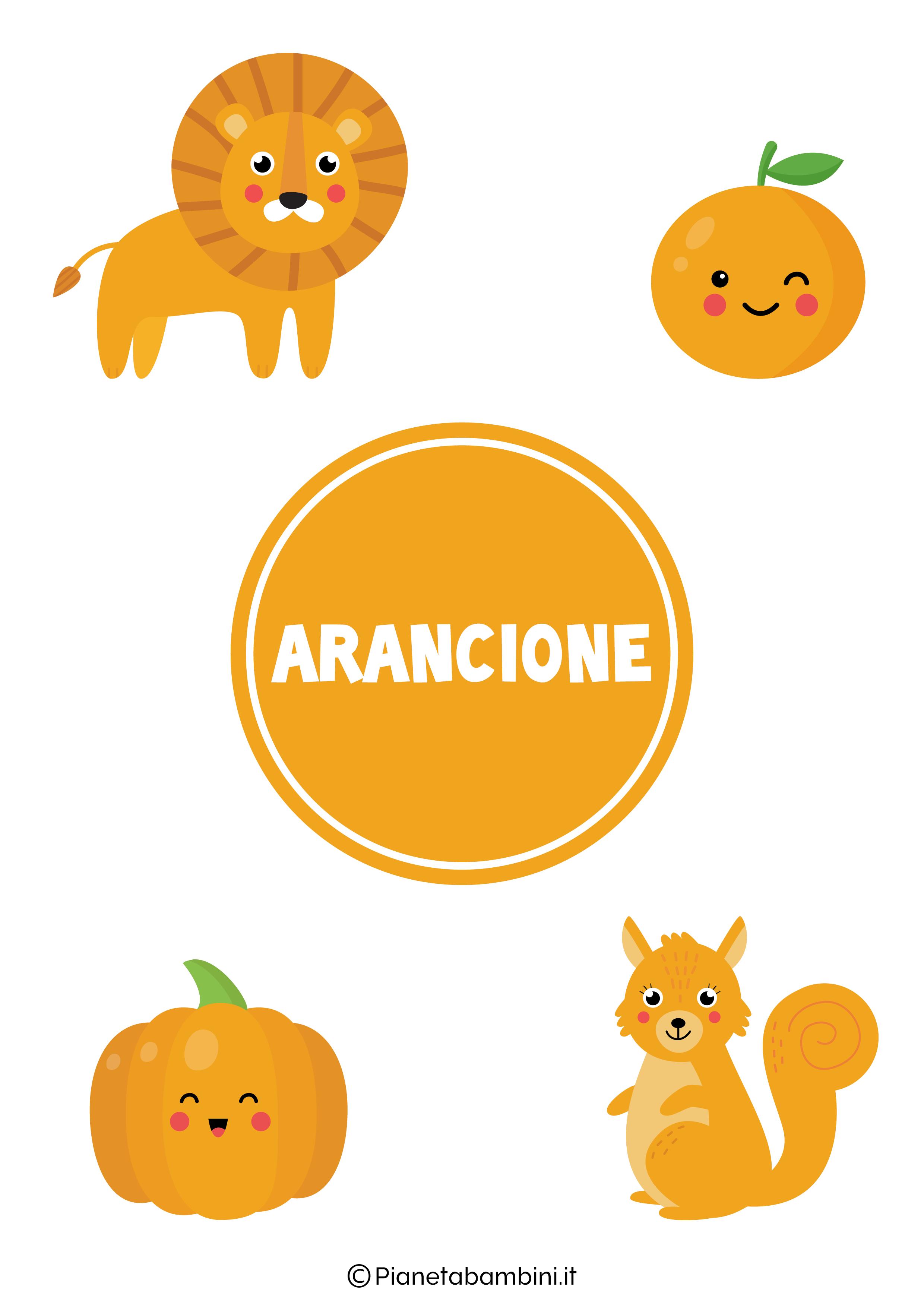 Flashcard sul colore arancione