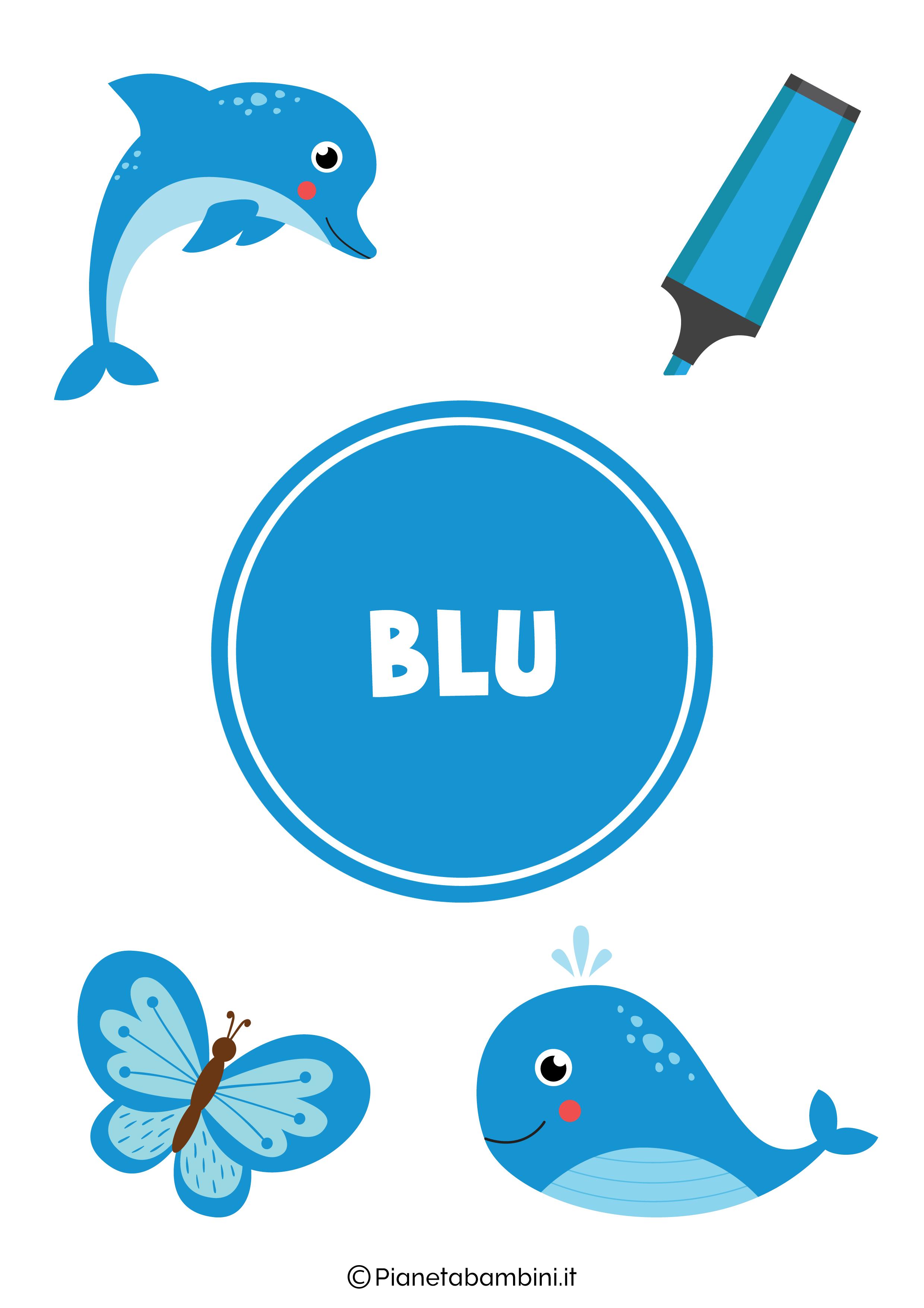 Flashcard sul colore blu