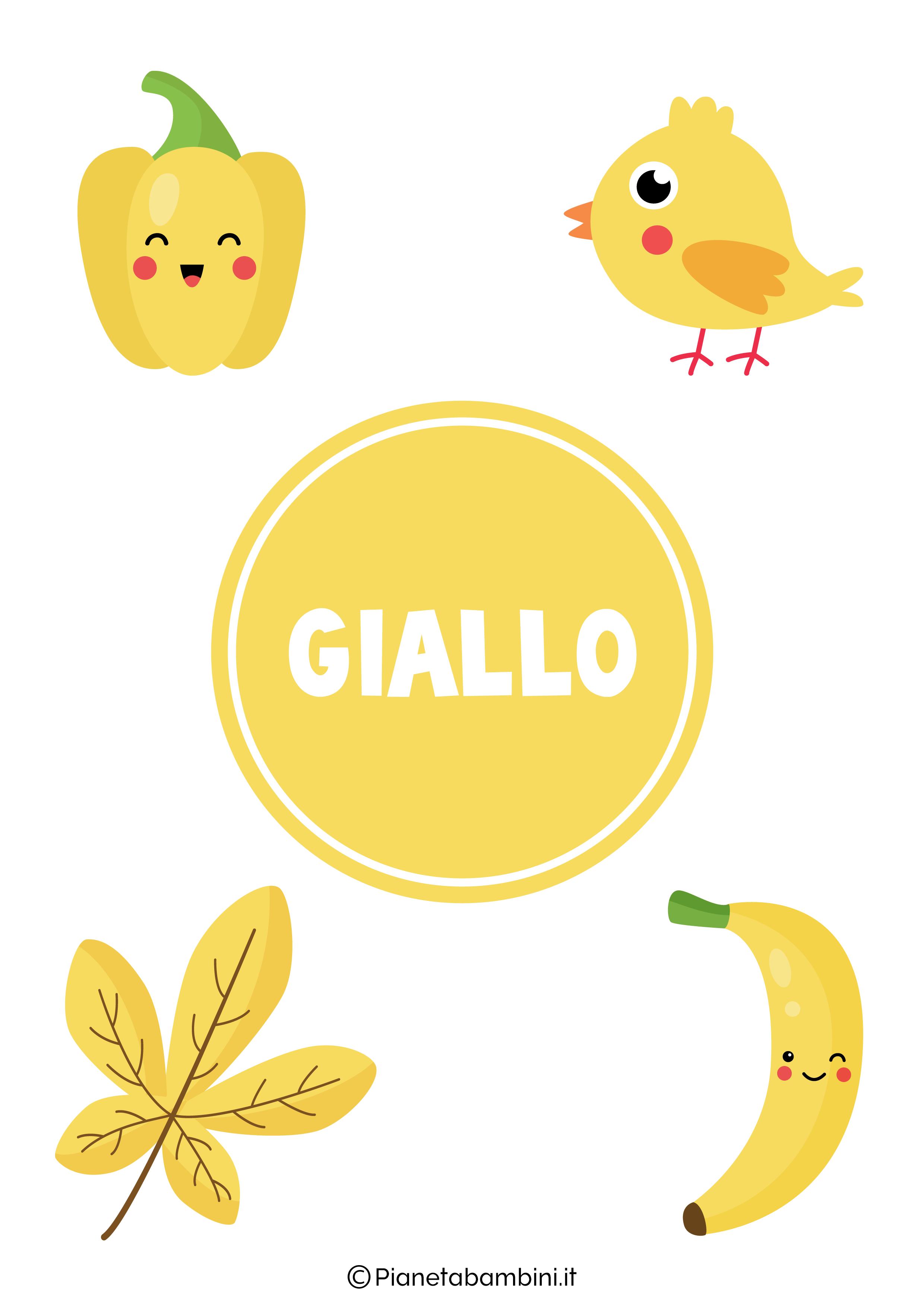 Flashcard sul colore giallo