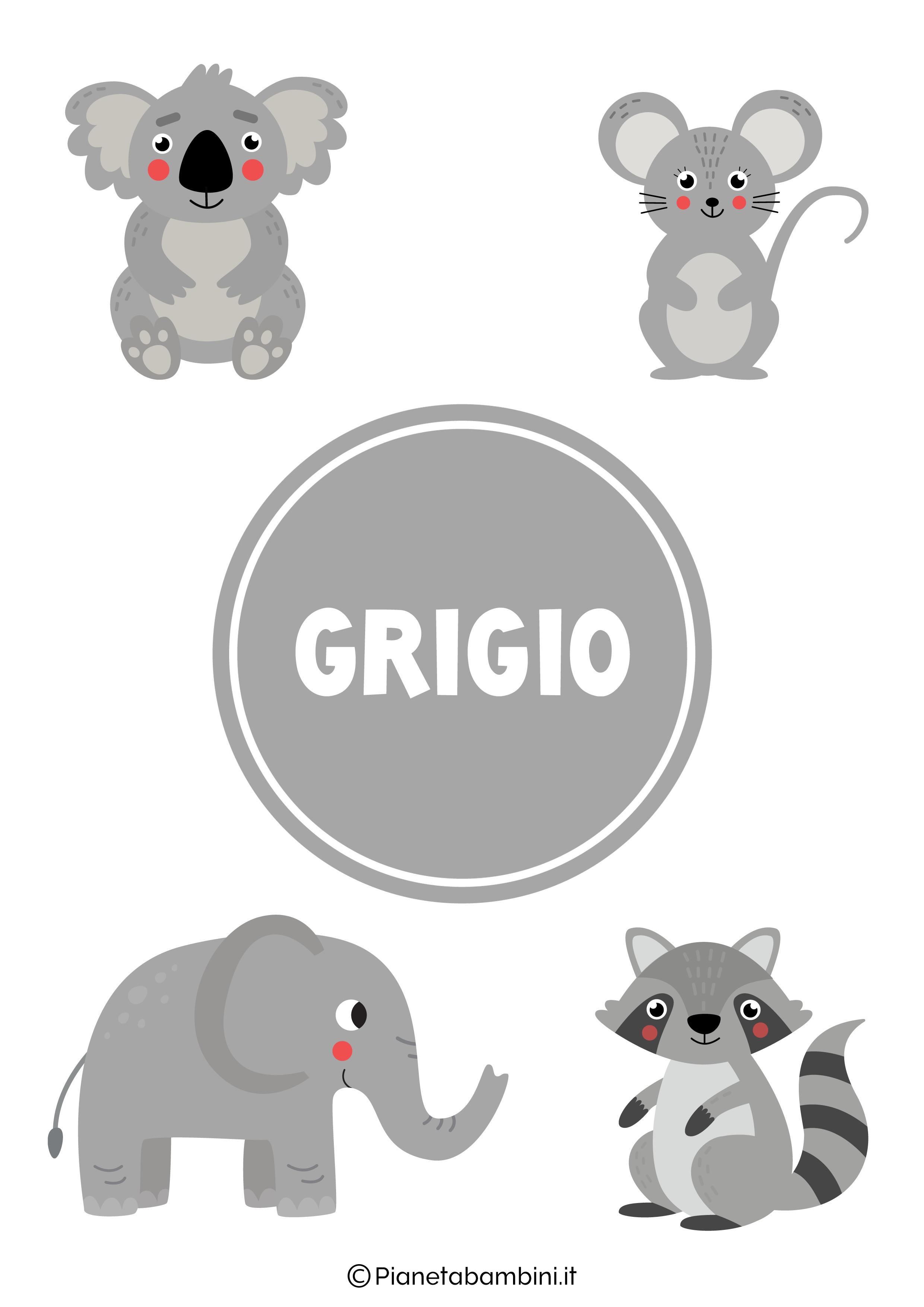 Flashcard sul colore grigio