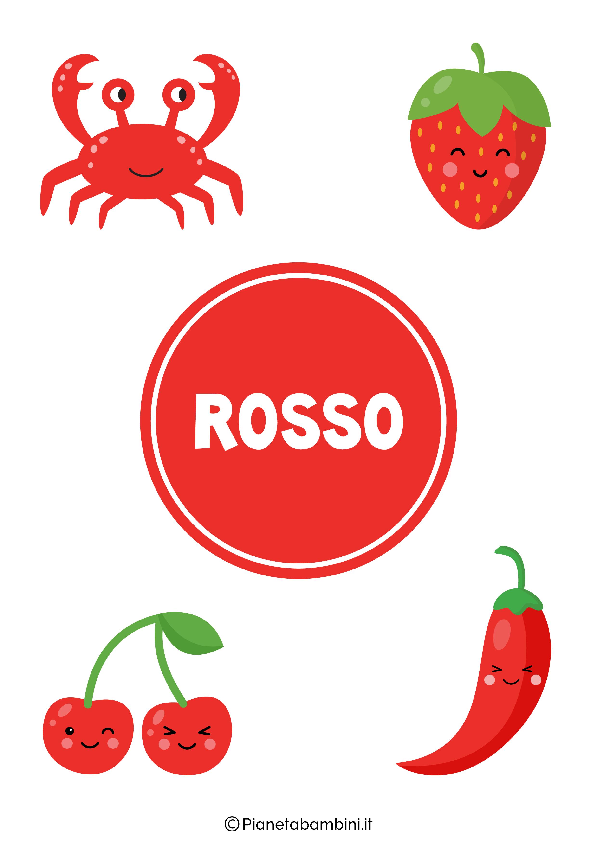 Flashcard sul colore rosso