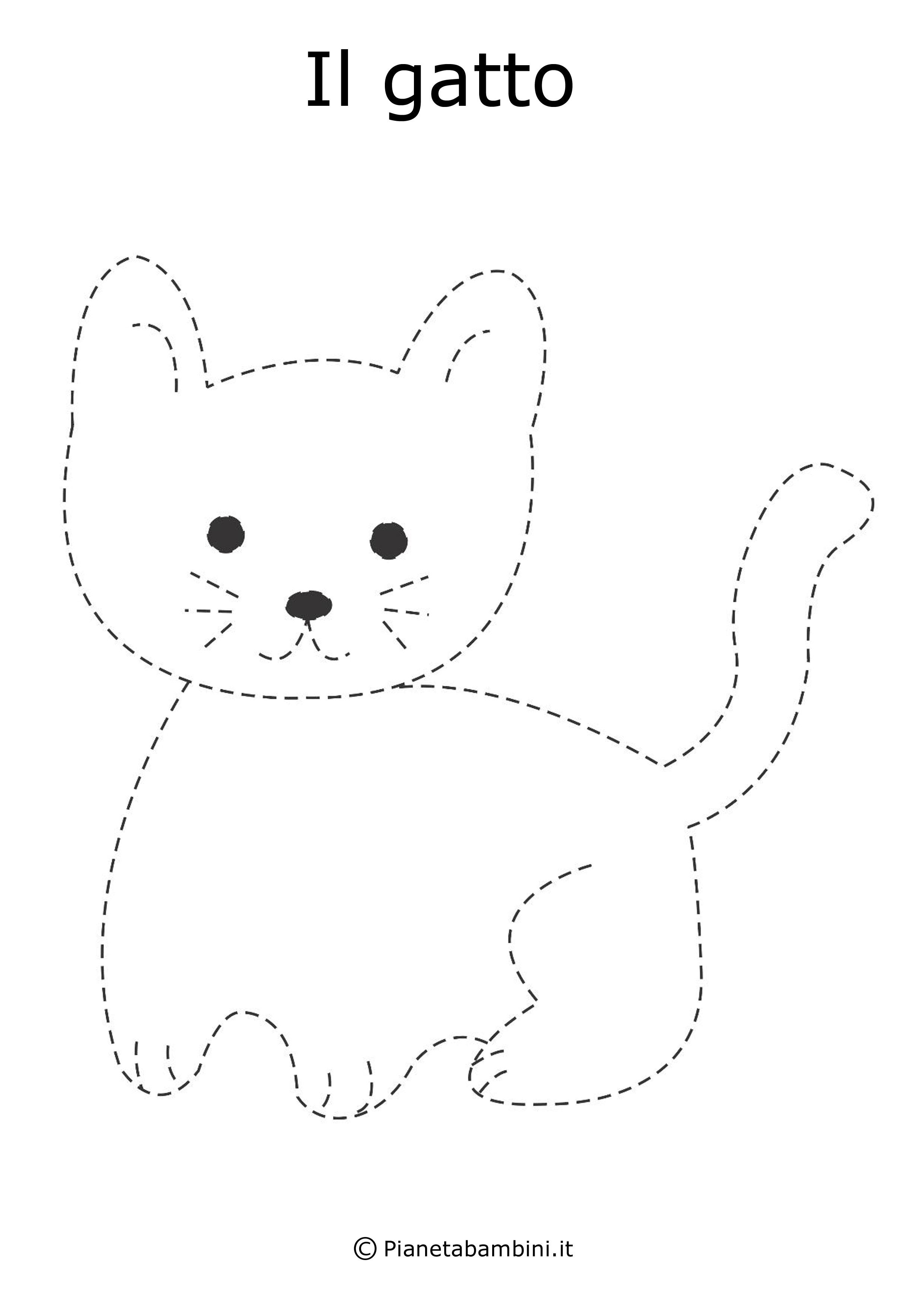 Schede di pregrafismo disegni tratteggiati da completare for Immagini gatti da colorare