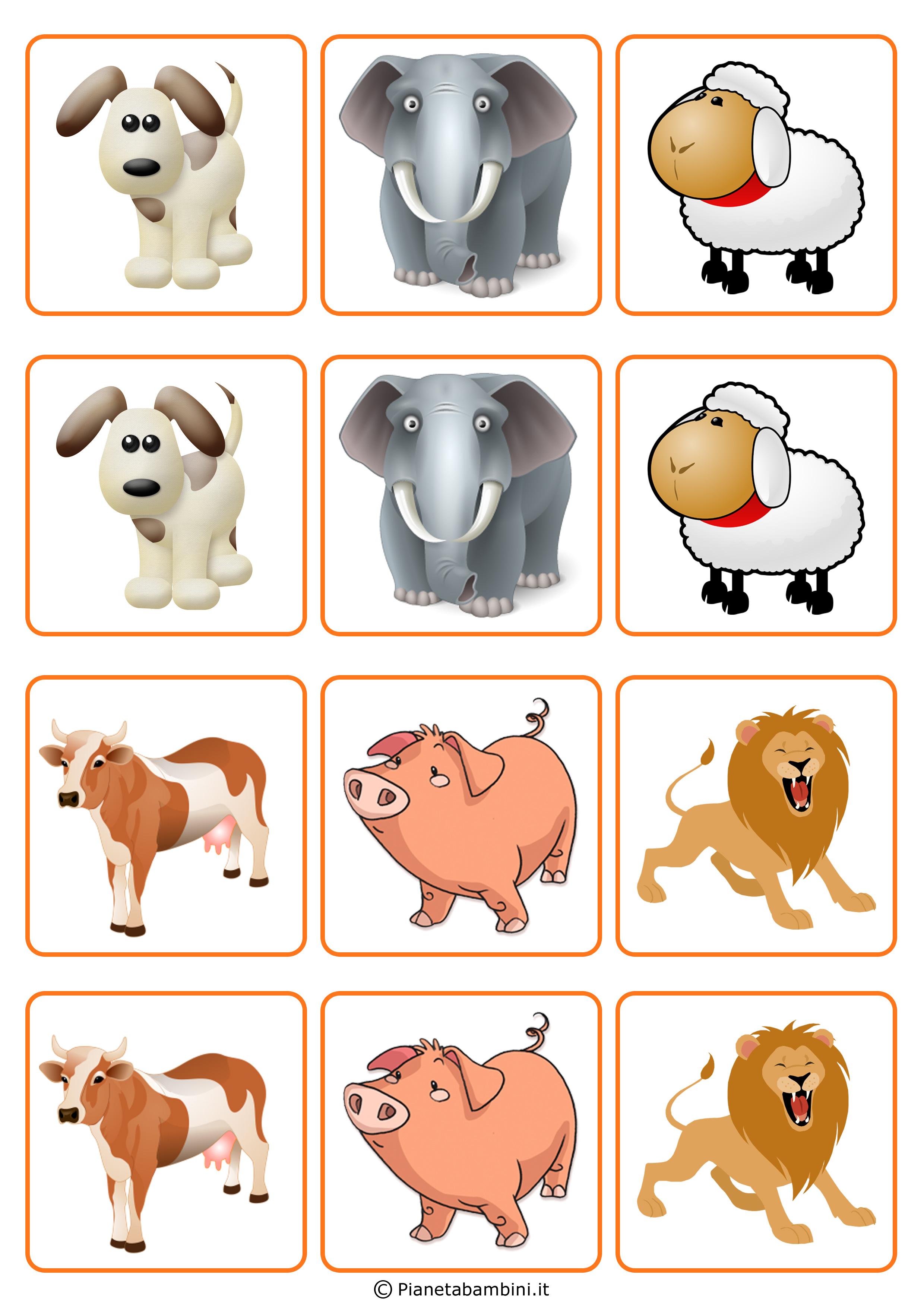 gioco memory per bambini da stampare e ritagliare gratis
