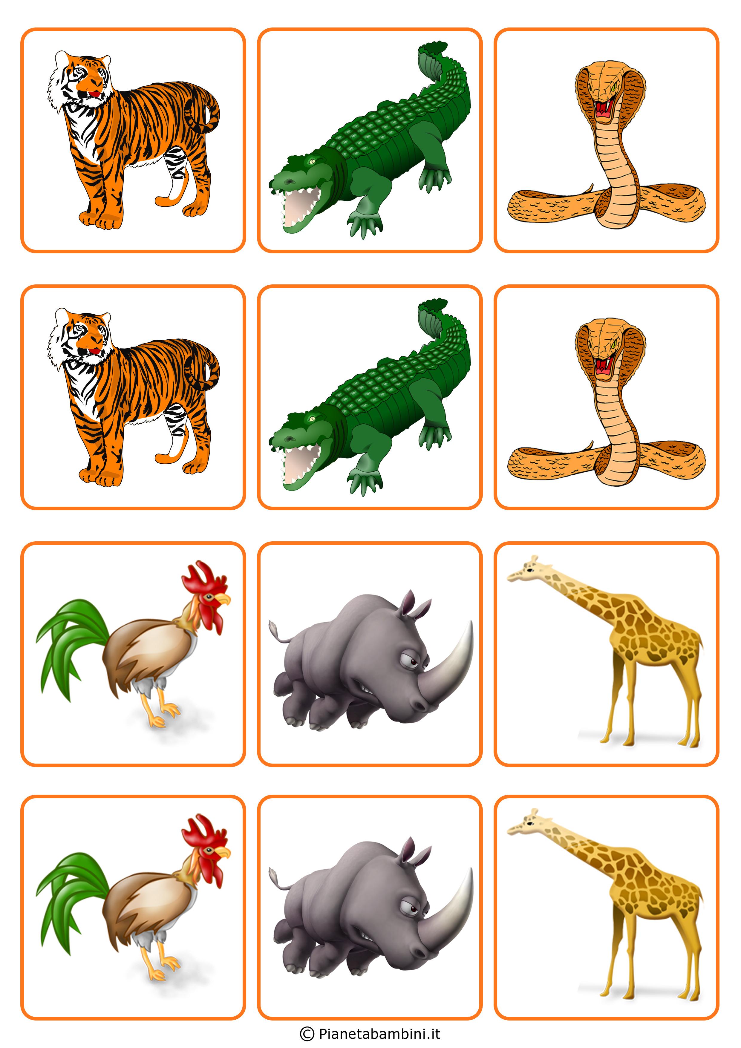 Preferenza Gioco Memory per Bambini da Stampare e Ritagliare Gratis  EK19