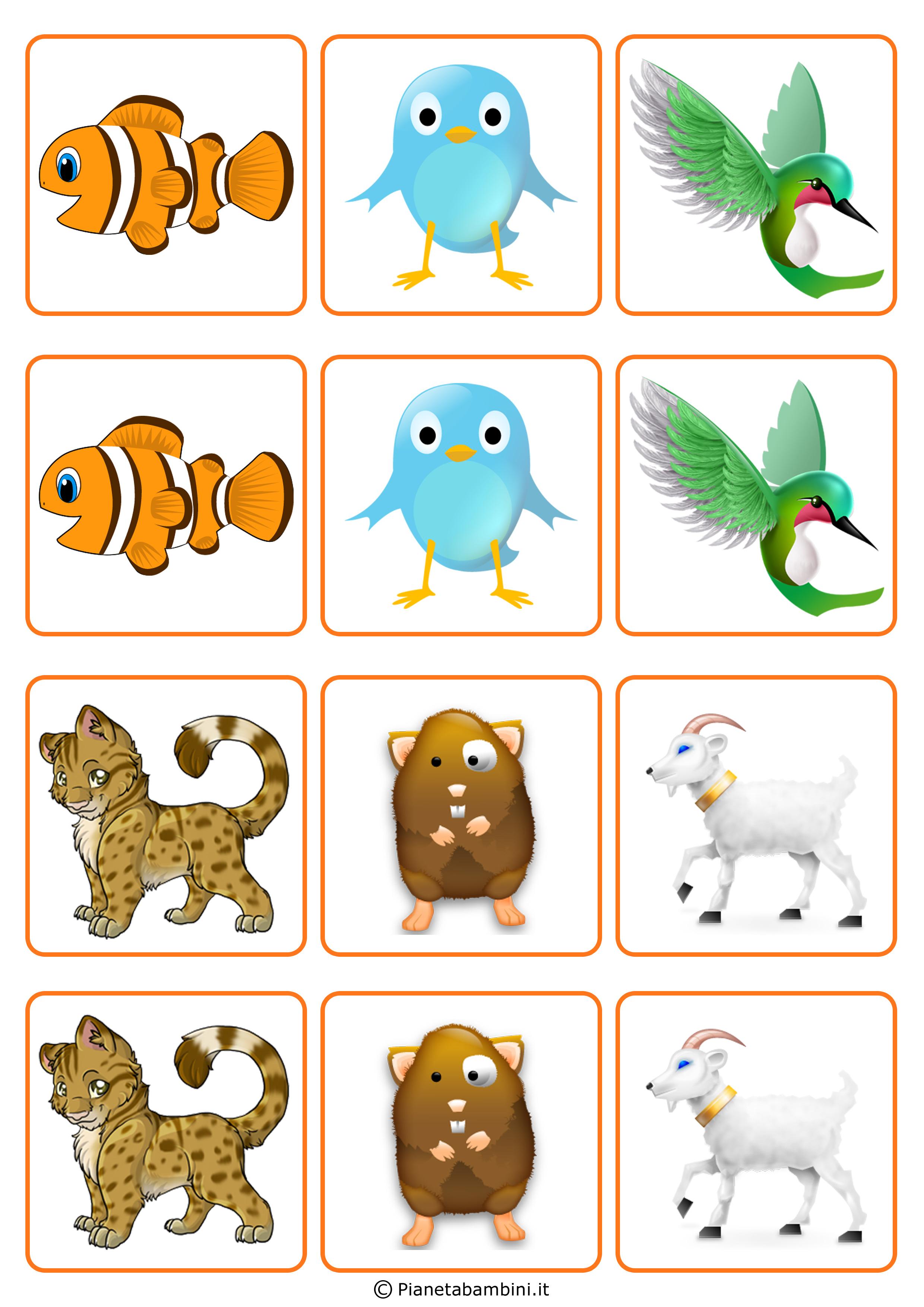 Favorito Gioco Memory per Bambini da Stampare e Ritagliare Gratis  YU49
