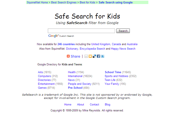 Motore di ricerca Google Safe Search for Kids