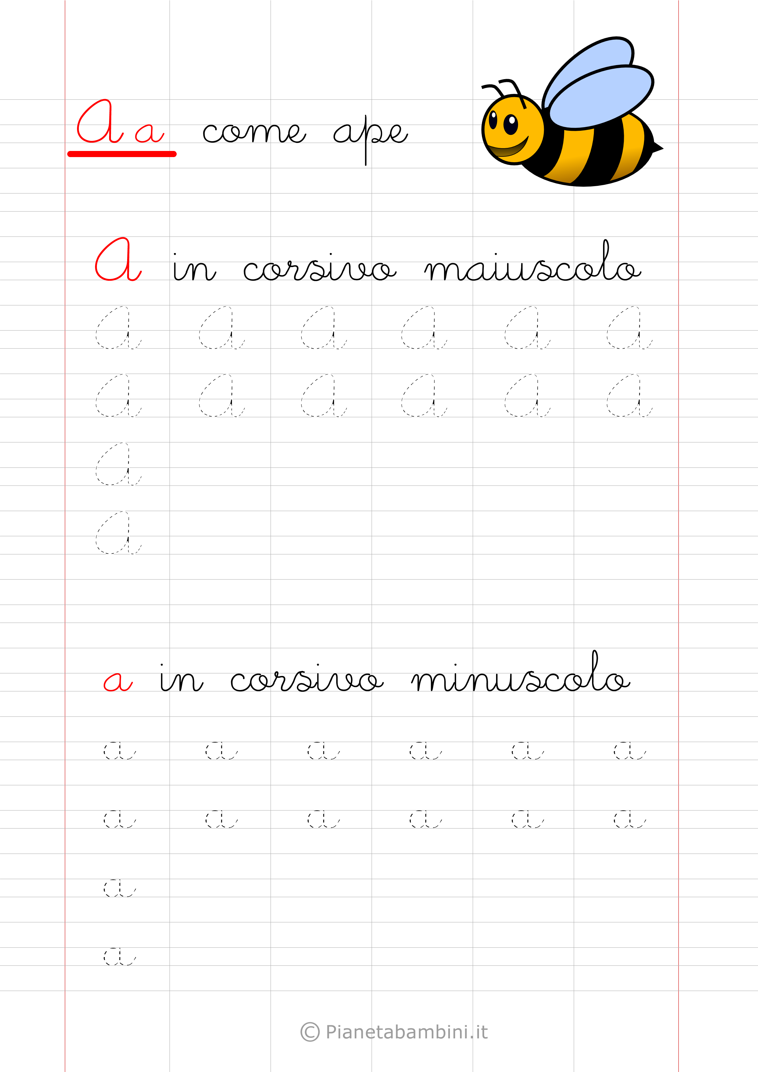 Scheda di pregrafismo lettera A in corsivo